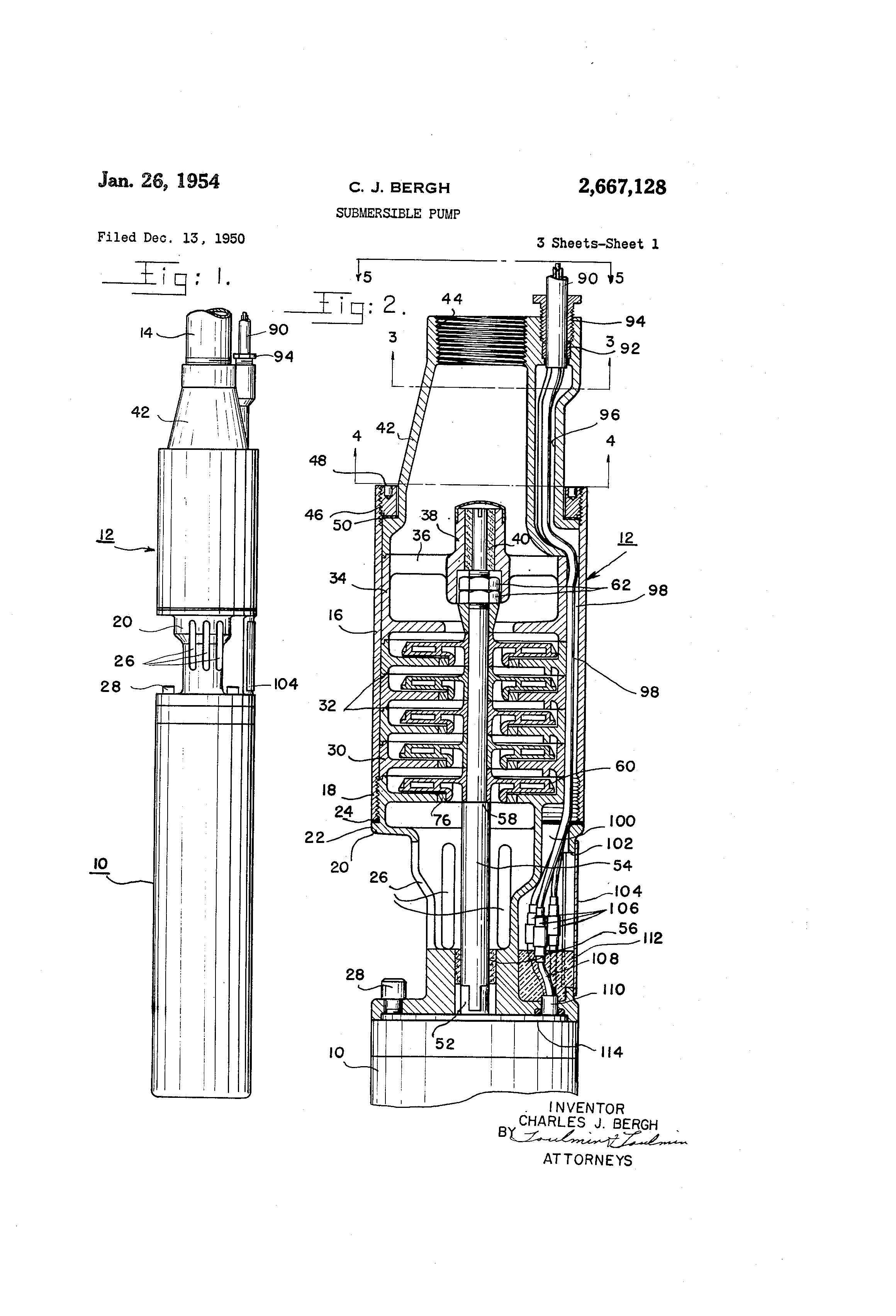 Brevet US2667128 - Submersible pump - Google Brevets