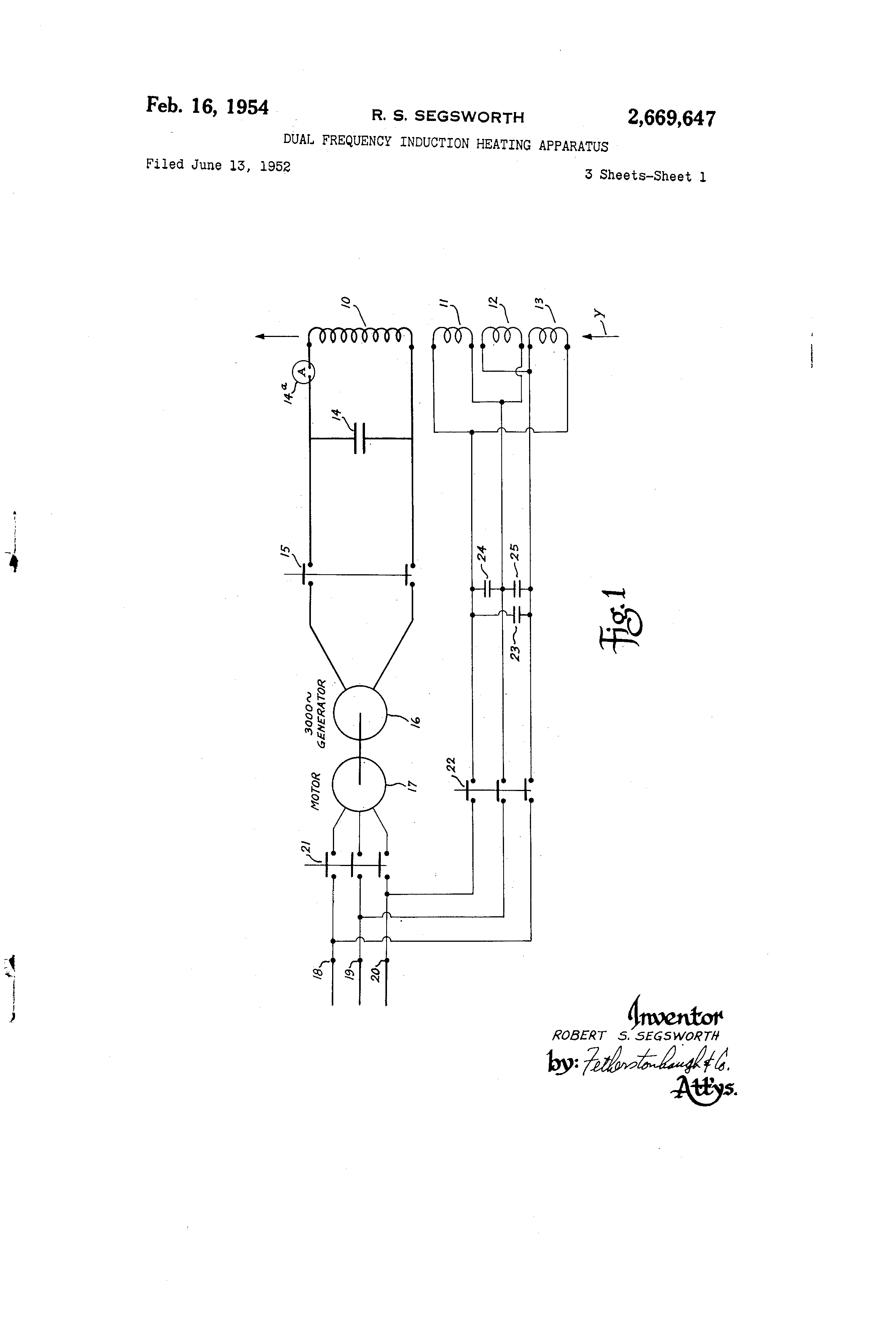 Brevet Us2669647 Dual Frequency Induction Heating Apparatus Diagram Patent Drawing