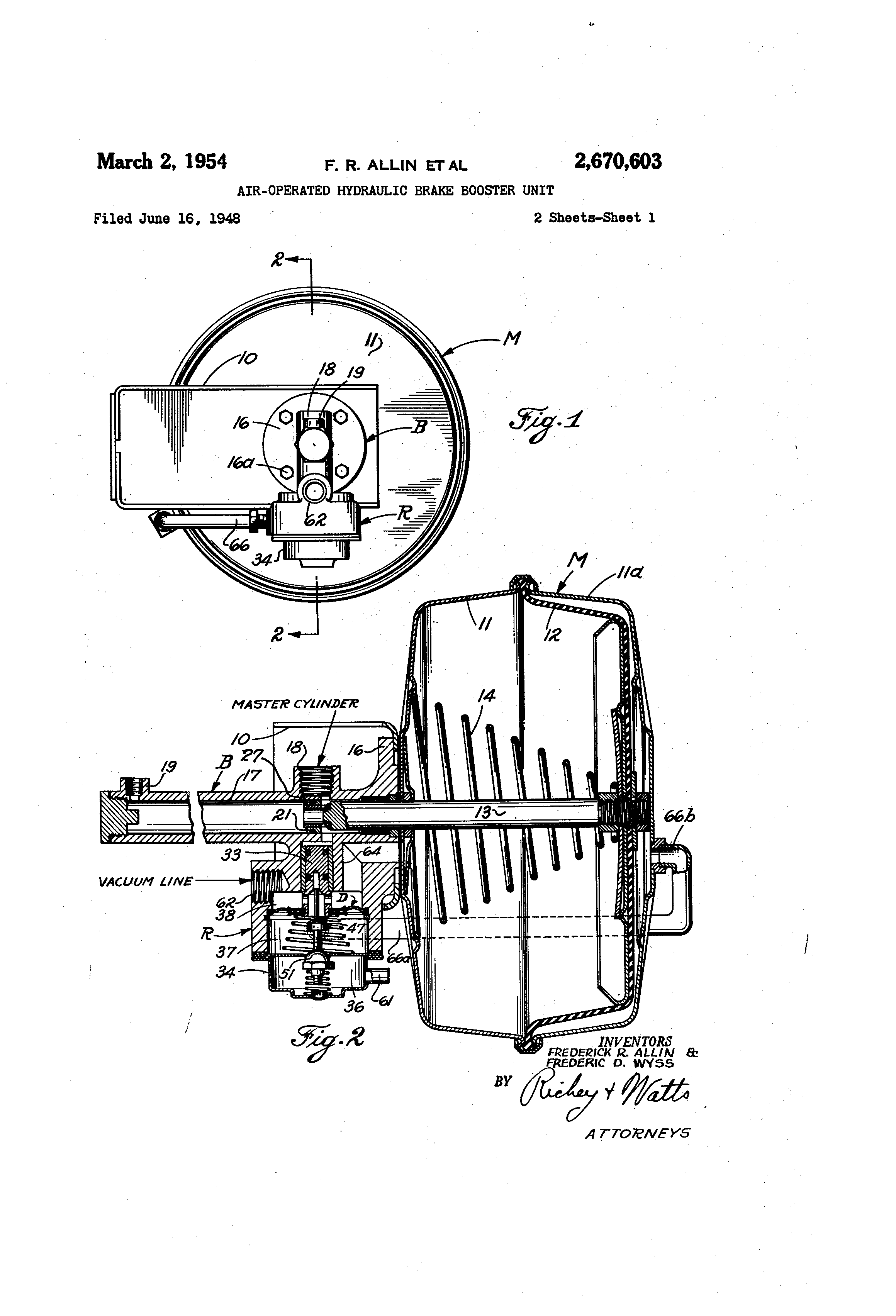 Patent US2670603 - Air-operated hydraulic brake booster unit