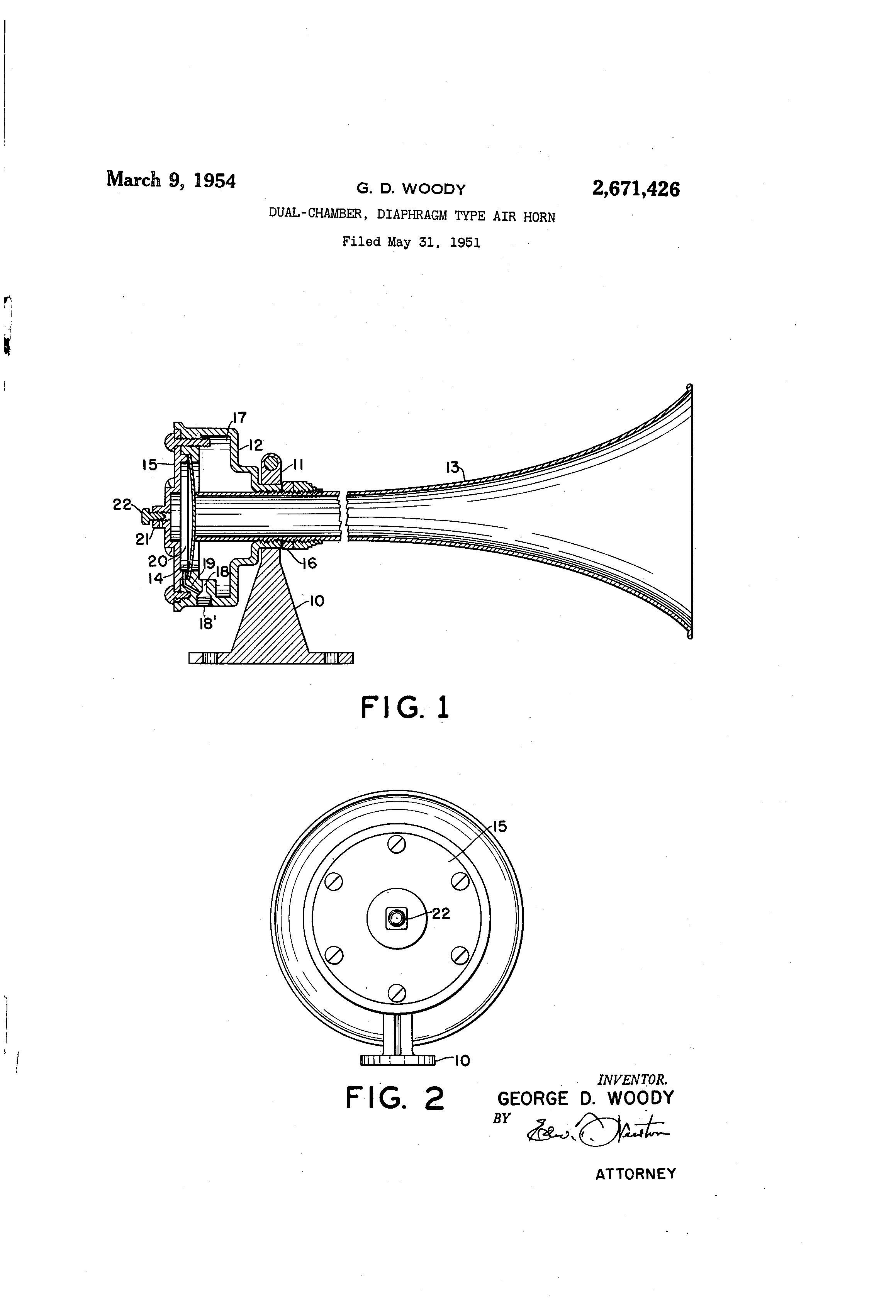 air horn diaphragm electronic air horn schematic patent us2671426 - dual-chamber, diaphragm type air horn ...