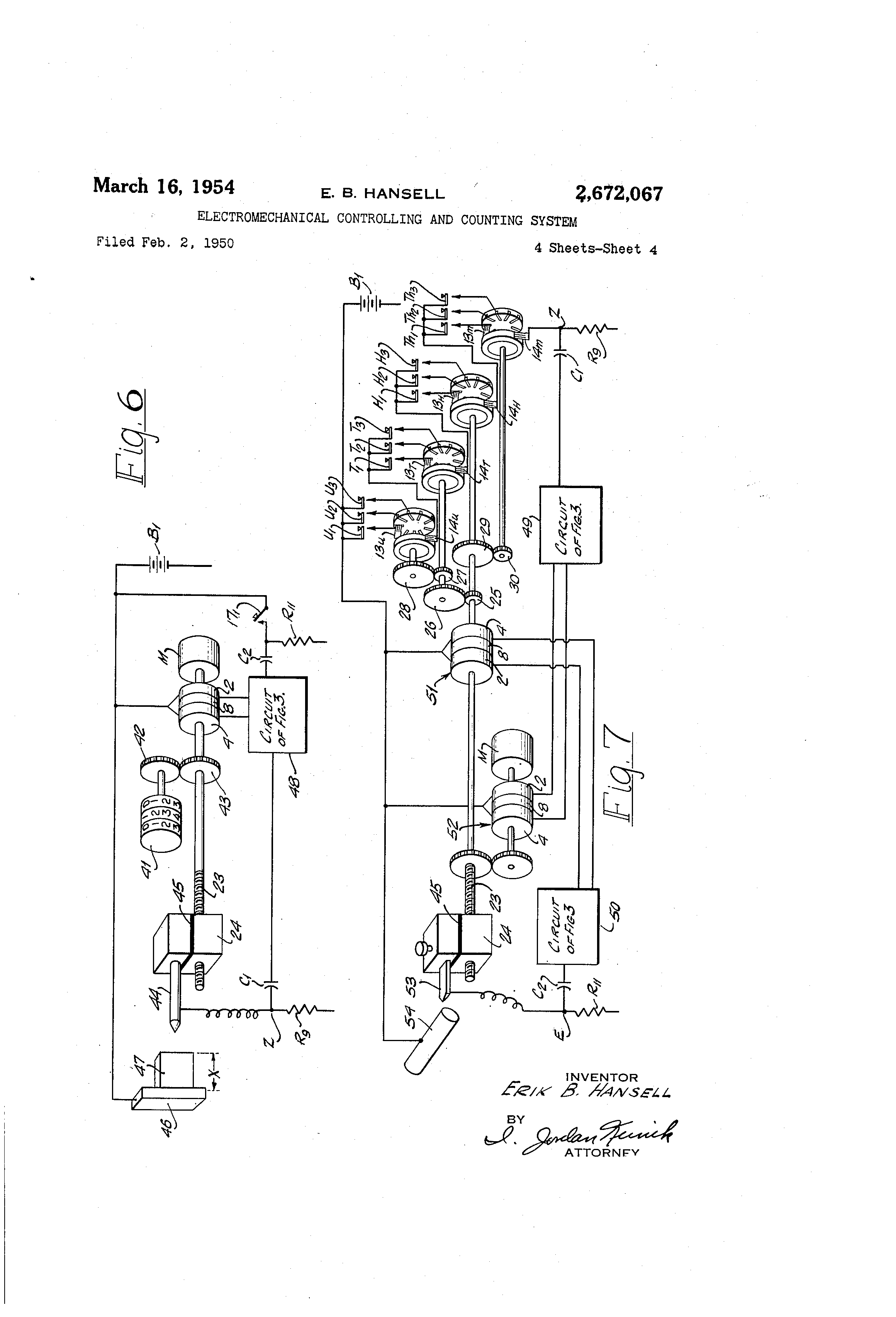 Patent Us2672067 Electromechanical Controlling And Counting System Onetube Transmitter Schematic Diagrams Circuit Descriptions Drawing