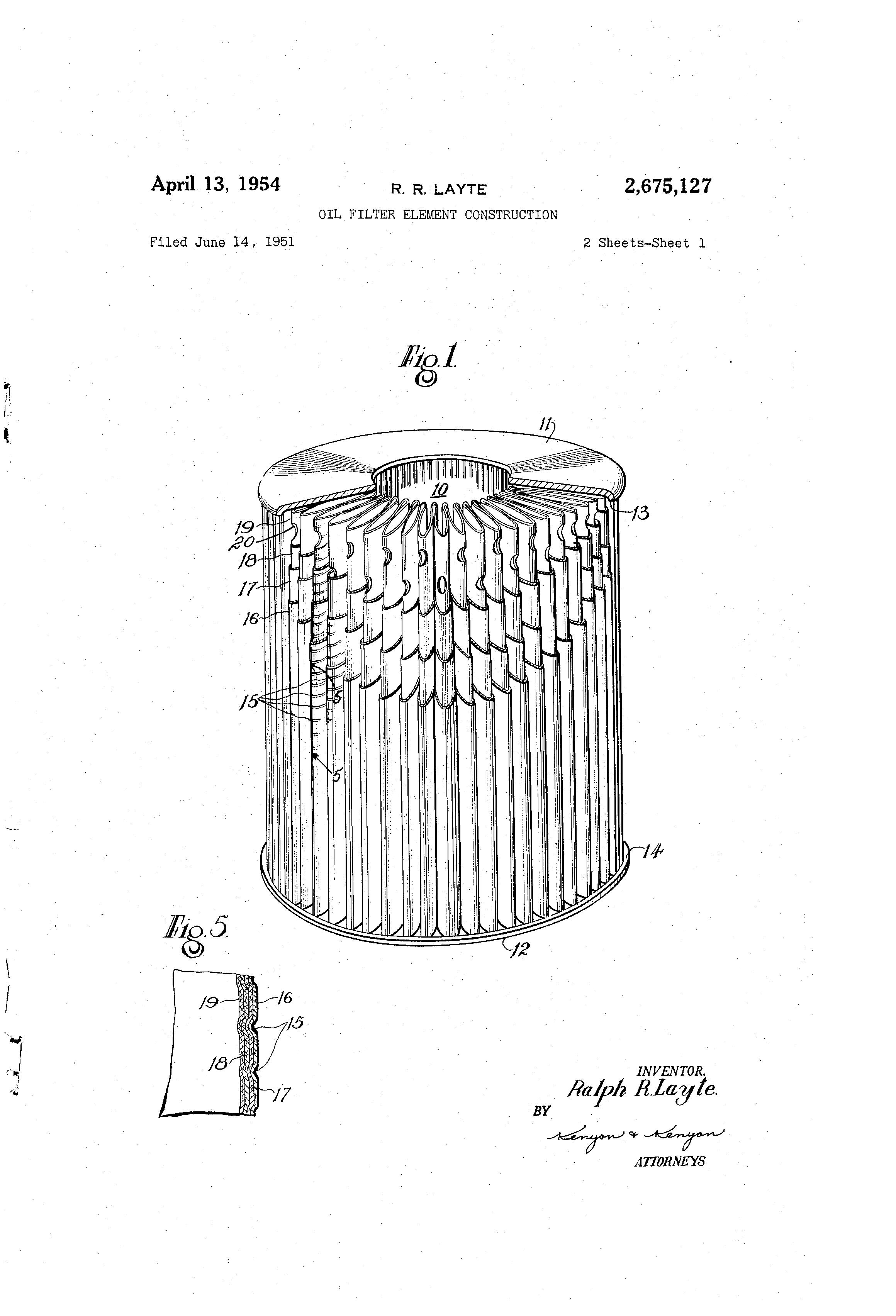 patent us2675127 - oil filter element construction