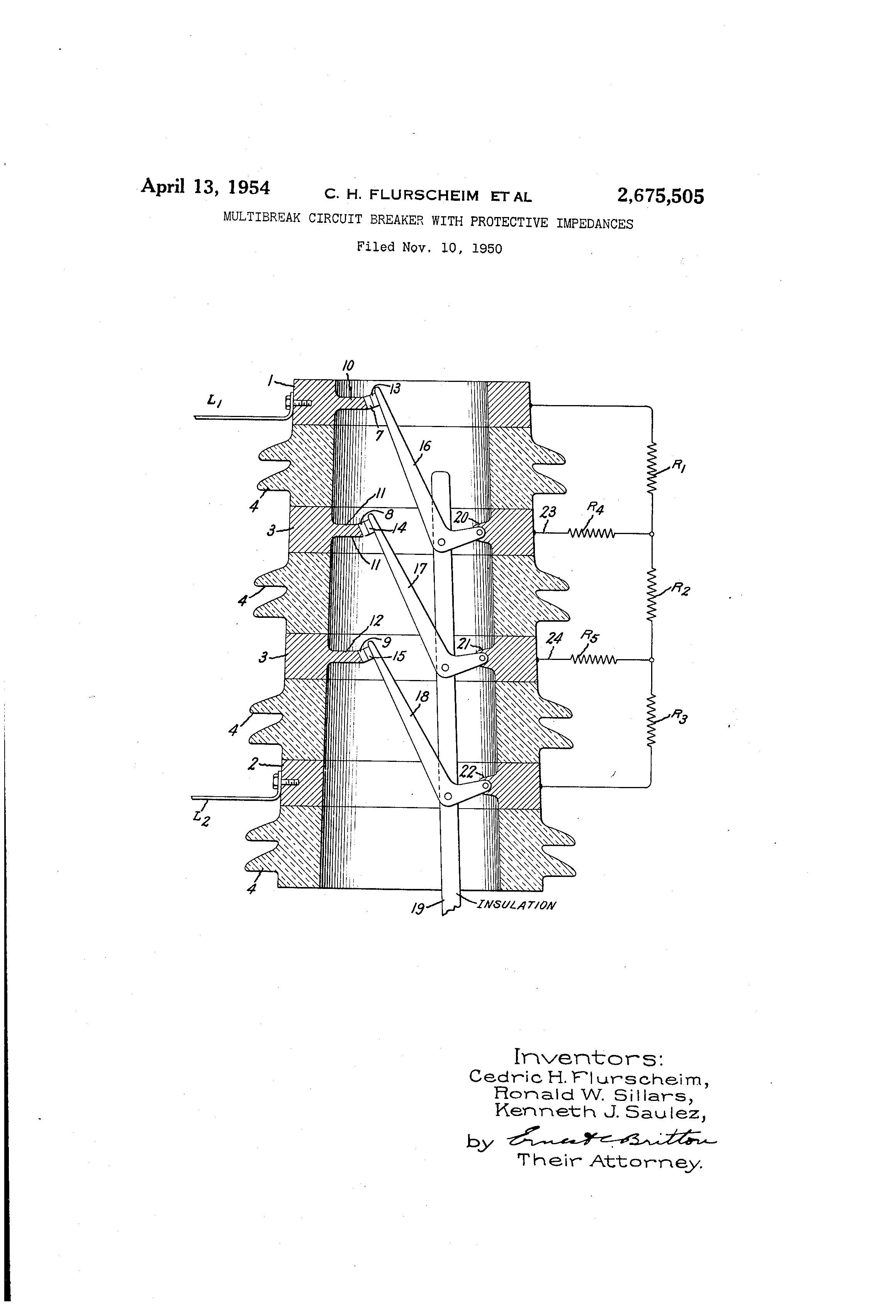 patent us2675505 - multibreak circuit breaker with protective impedances