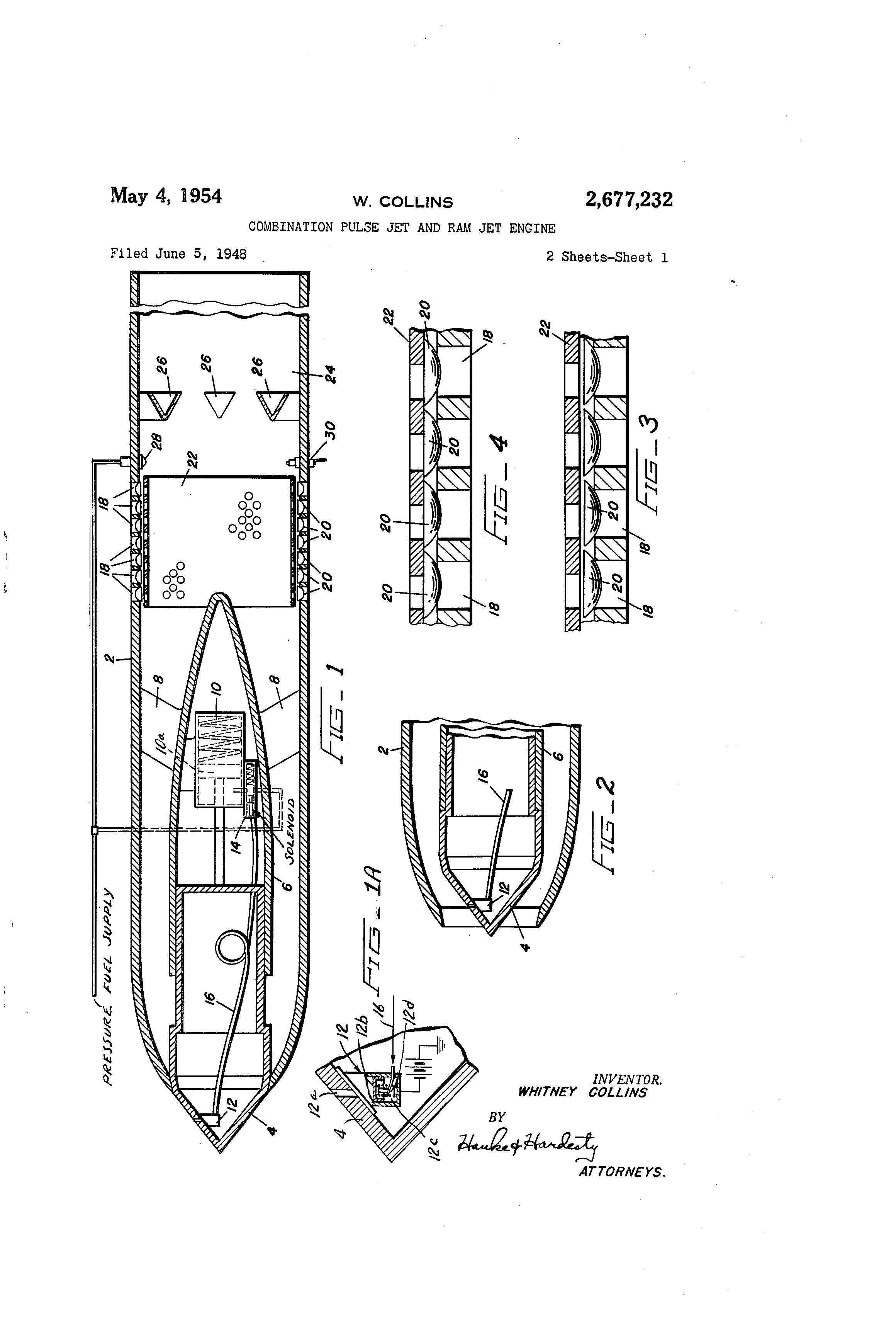 patent us2677232 - combination pulse jet and ram jet engine
