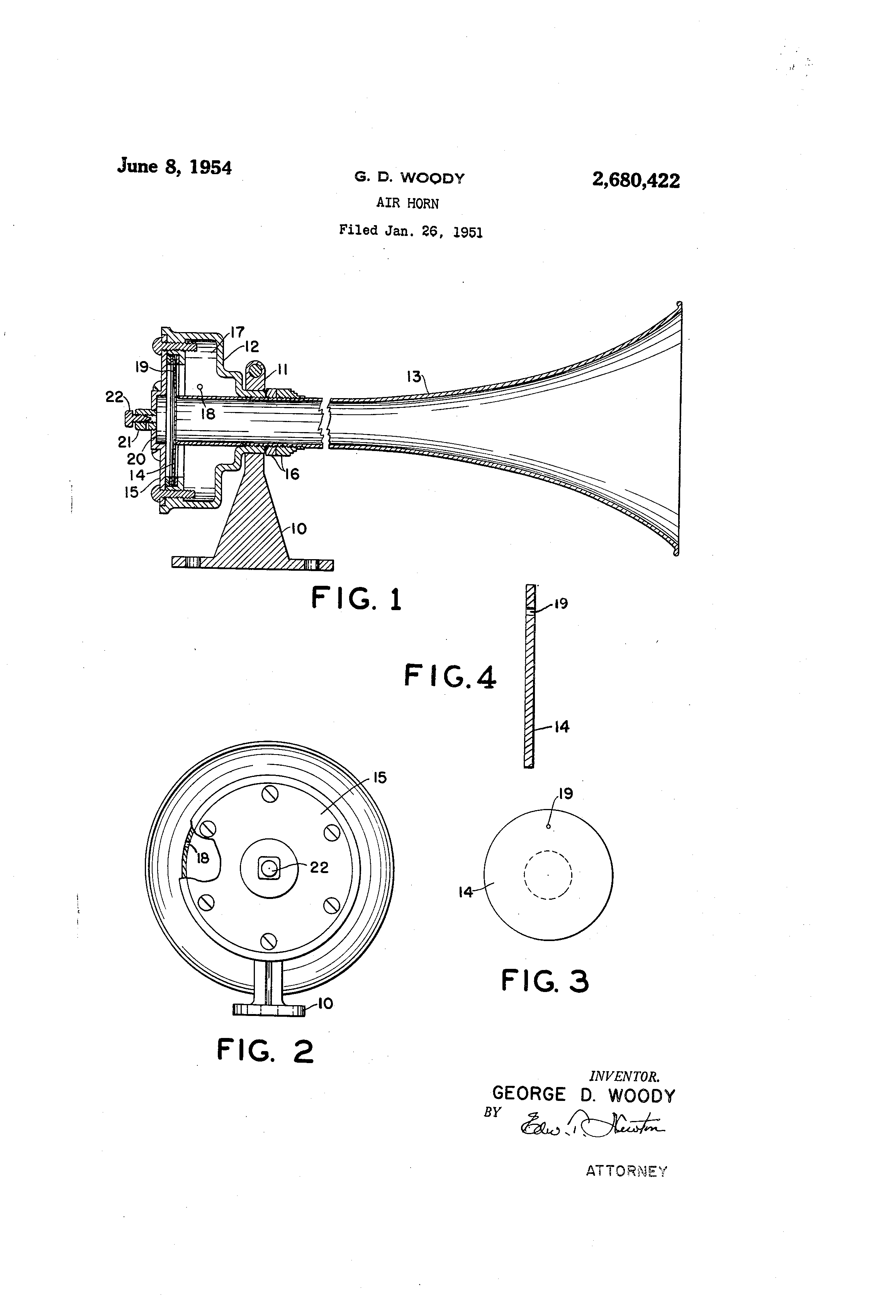 patent us2680422 - air horn