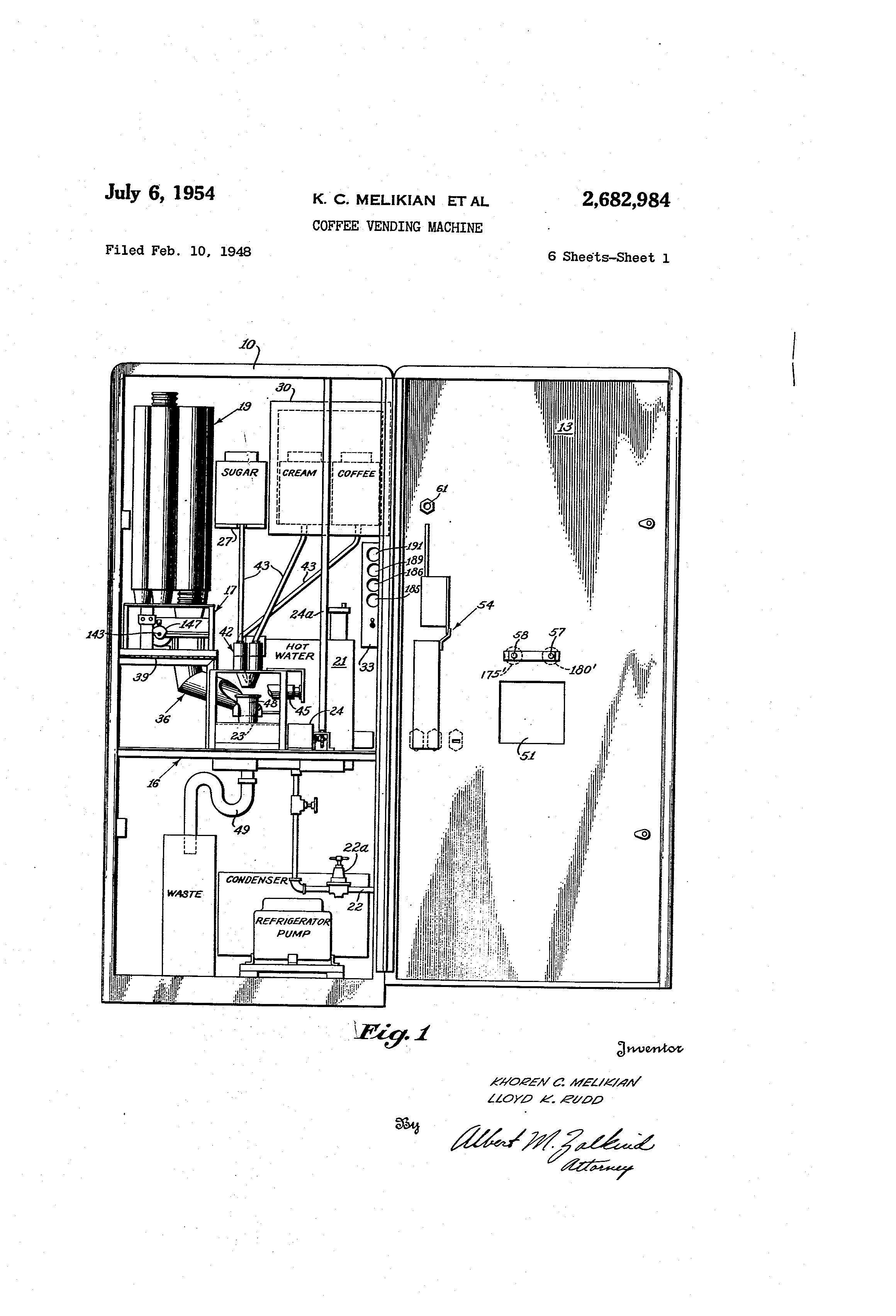 patent us2682984 - coffee vending machine