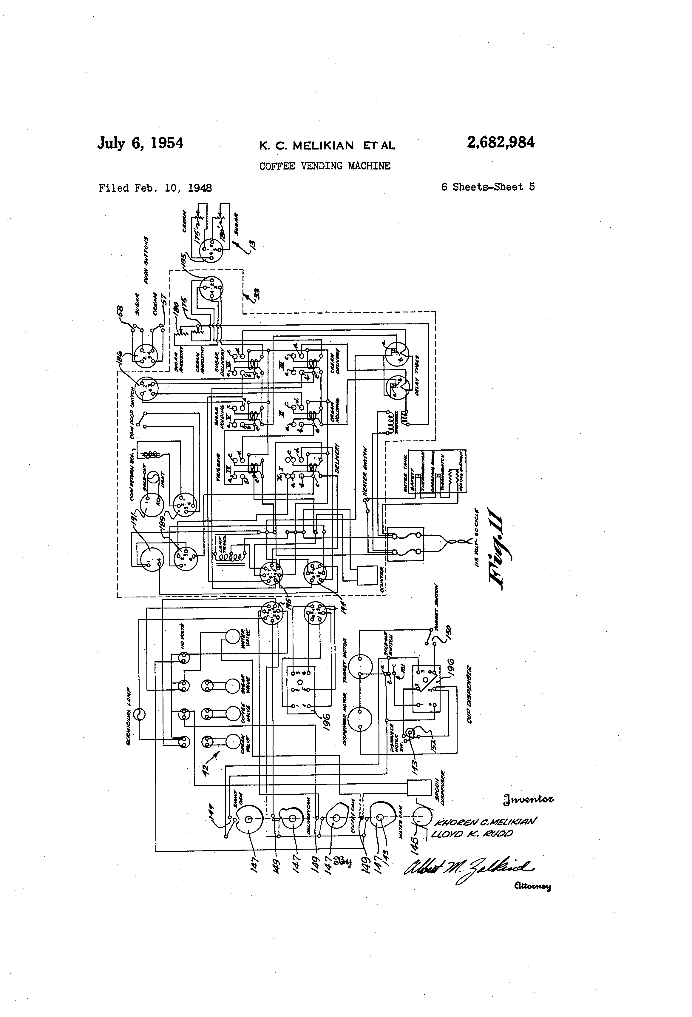 US2682984 4 patent us2682984 coffee vending machine google patents vending machine wiring diagram at reclaimingppi.co