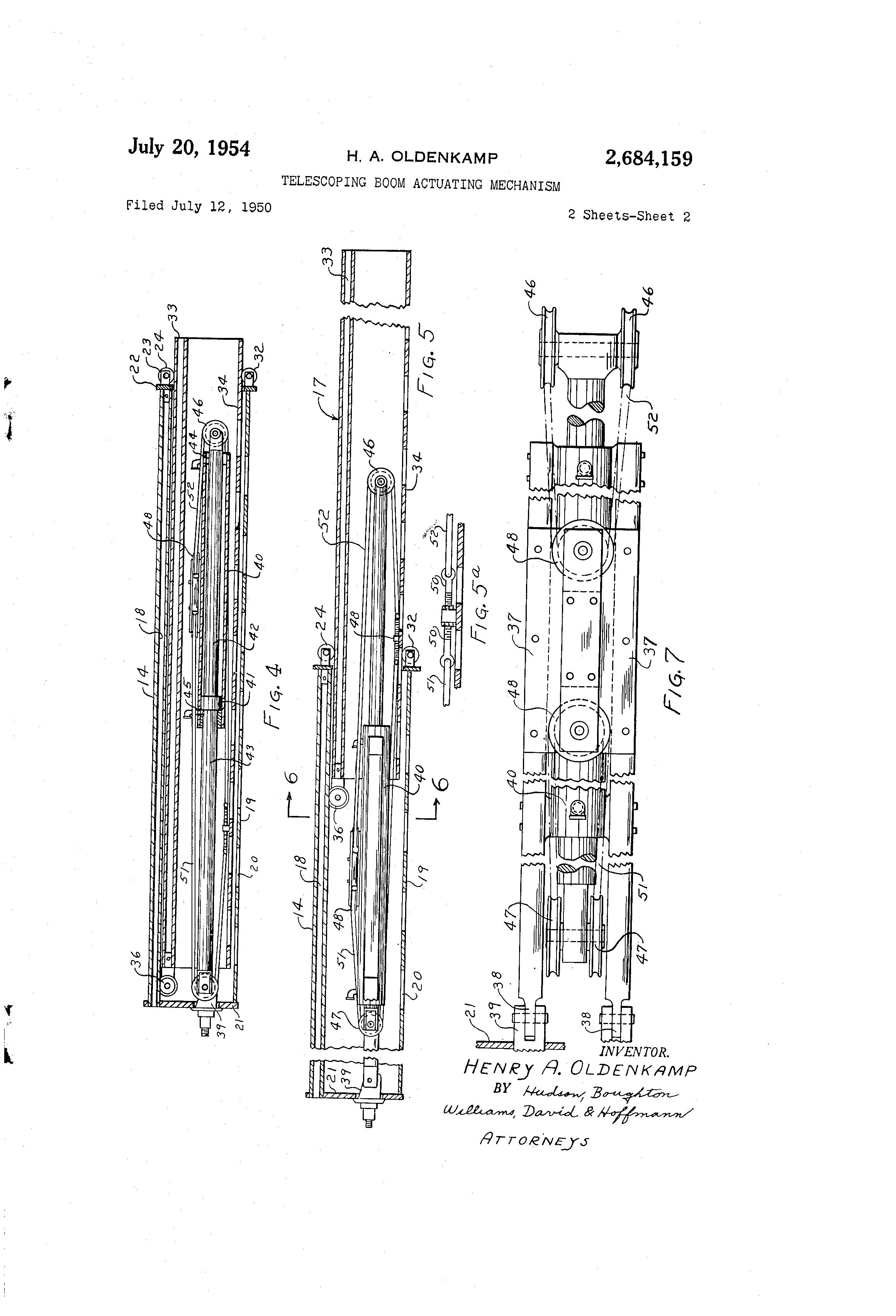 Patent Us2684159 Telescoping Boom Actuating Mechanism