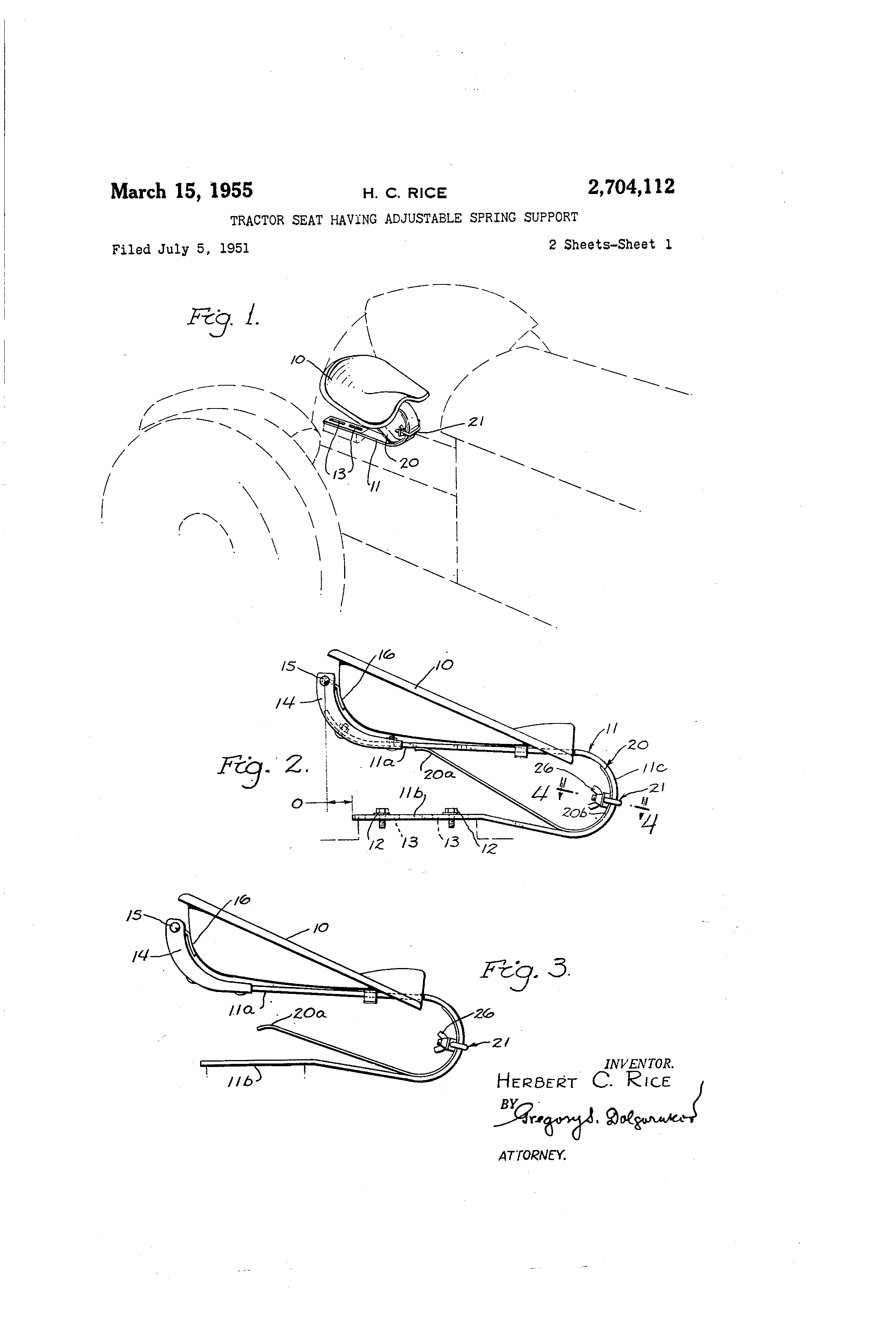 patent us2704112 tractor seat having adjustable spring support