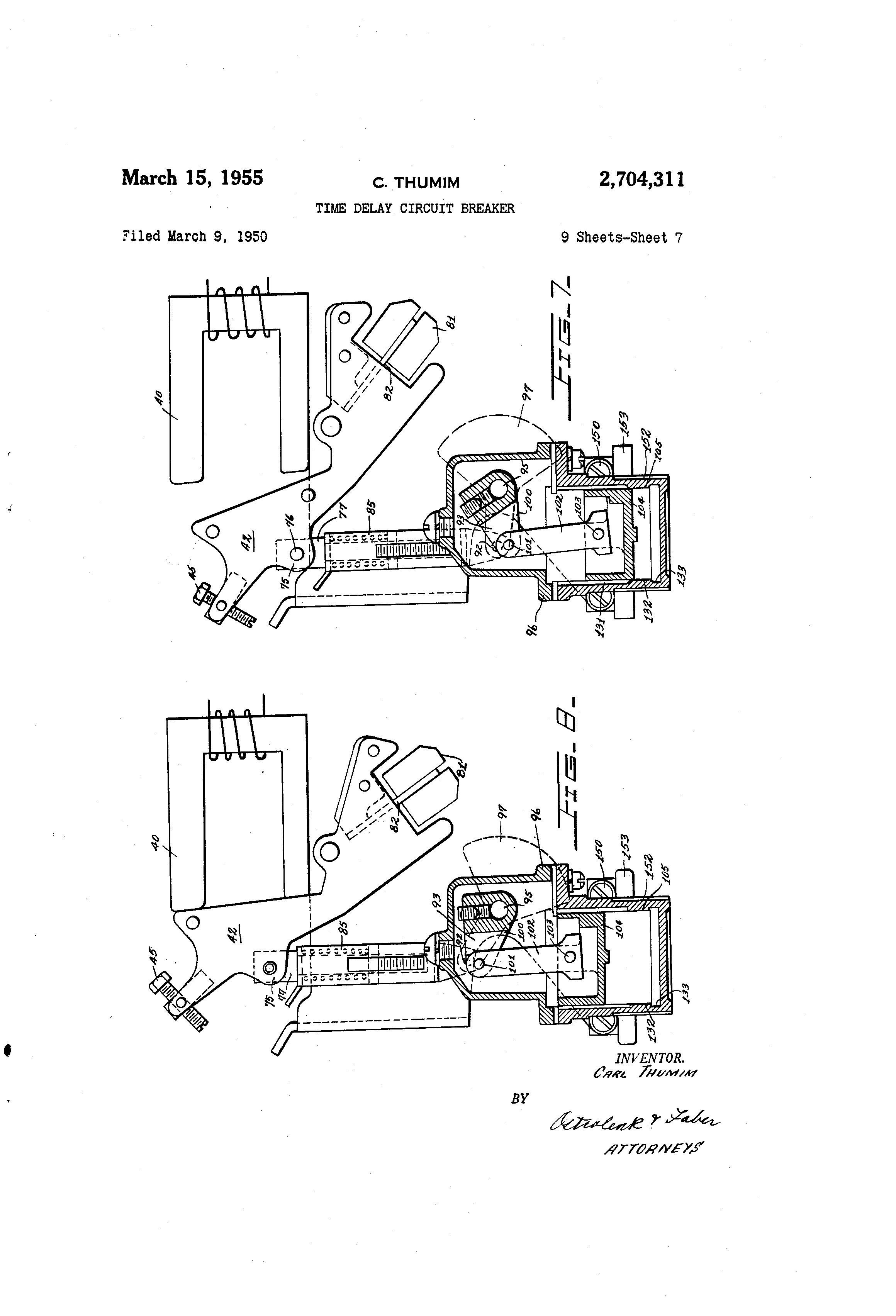 Patent Us2704311 Time Delay Circuit Breaker Google Patents Replacement Parts Lift Breakers Drawing