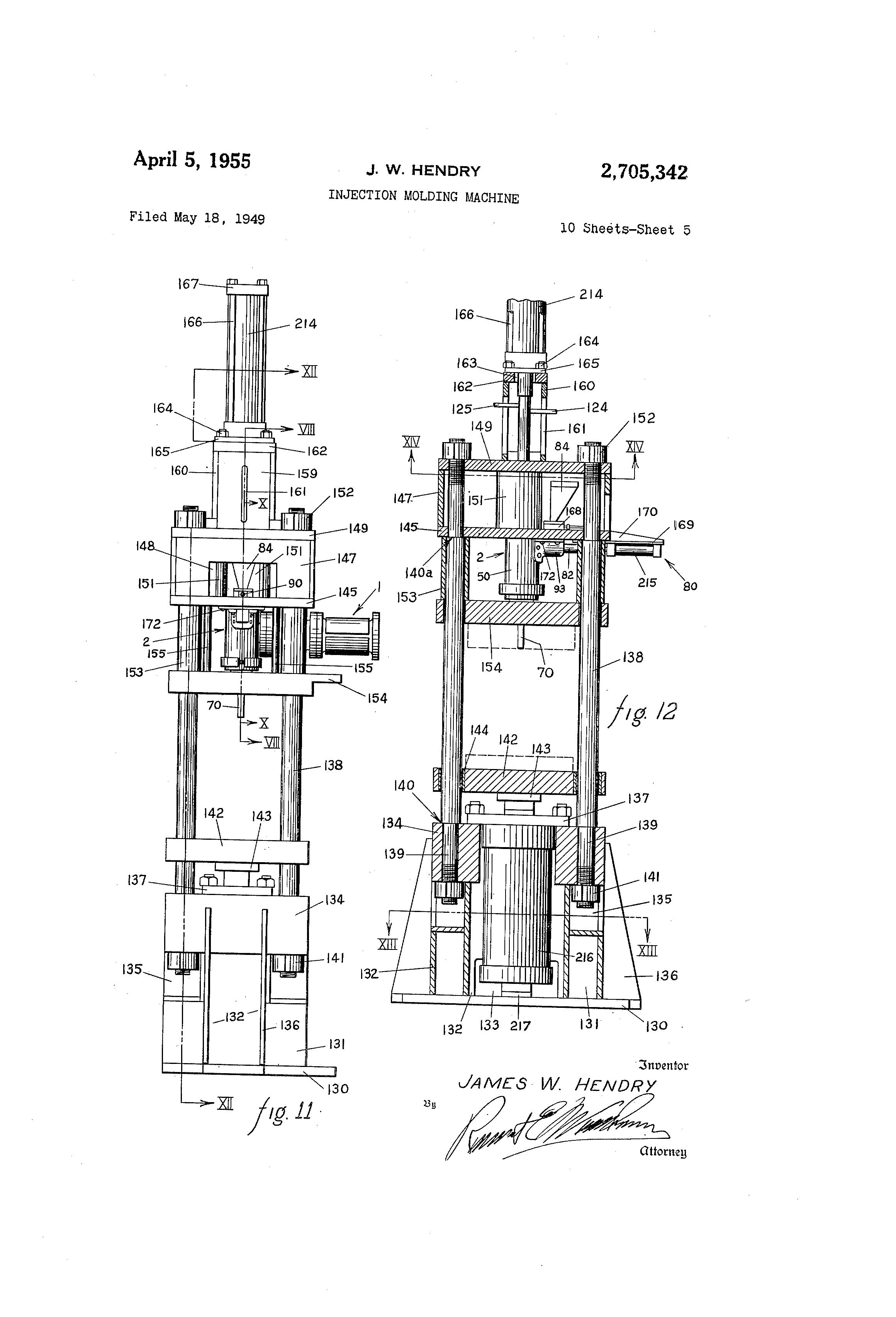 patent us2705342 - injection molding machine