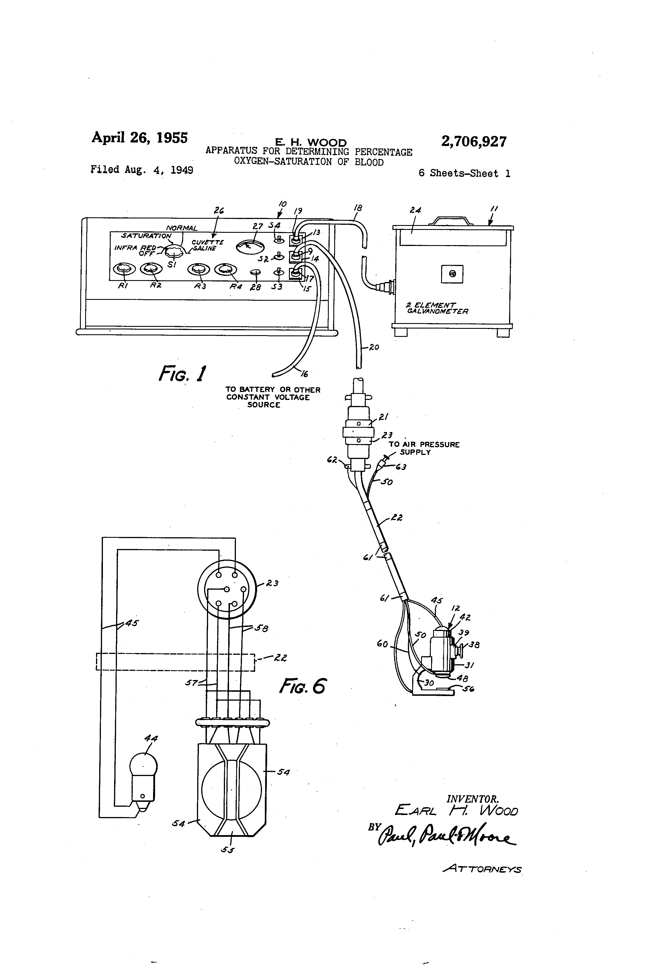 US2706927 0 patent us2706927 apparatus for determining percentage oxygen r13 112 switch wiring diagram at edmiracle.co
