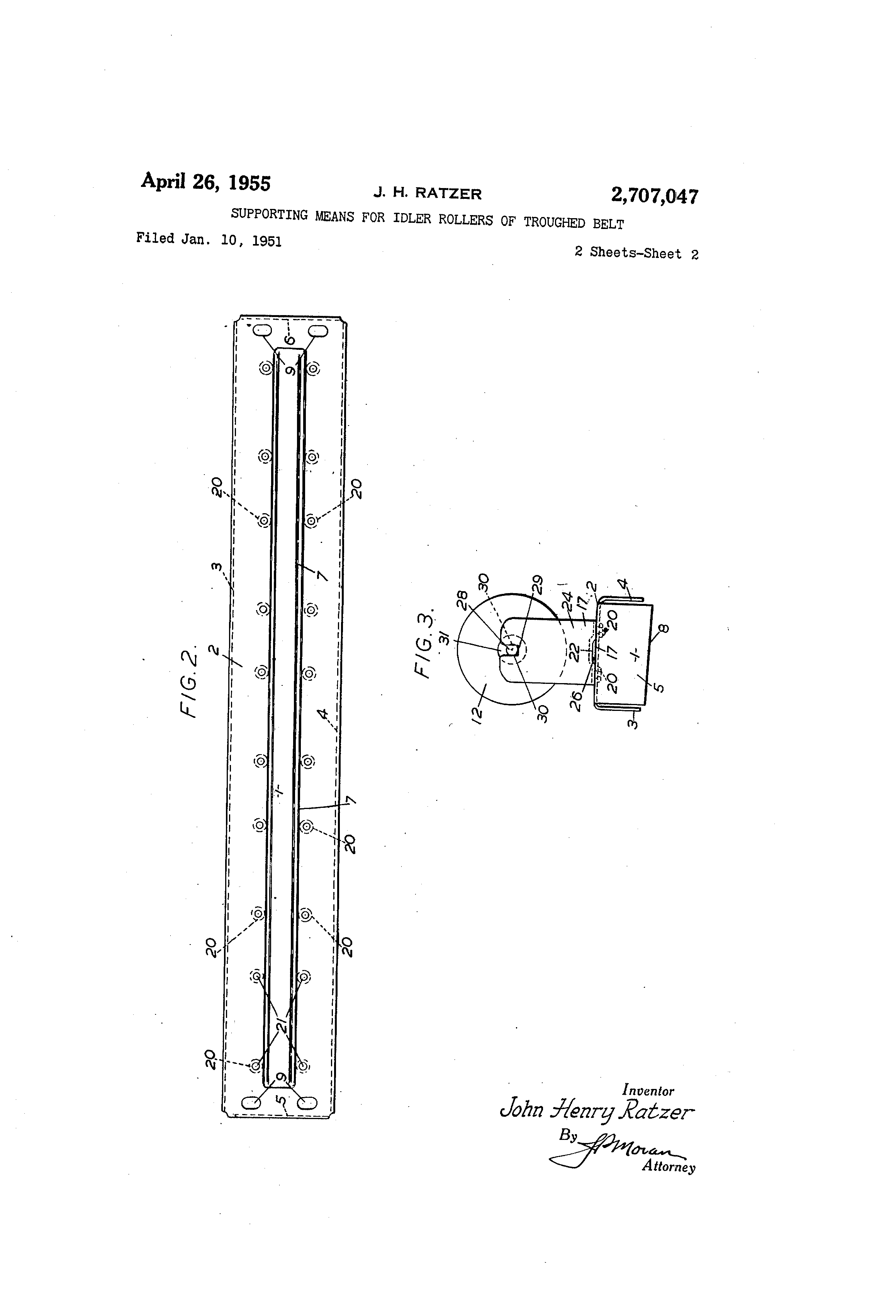 Patent US2707047 - Supporting means for idler rollers of troughed