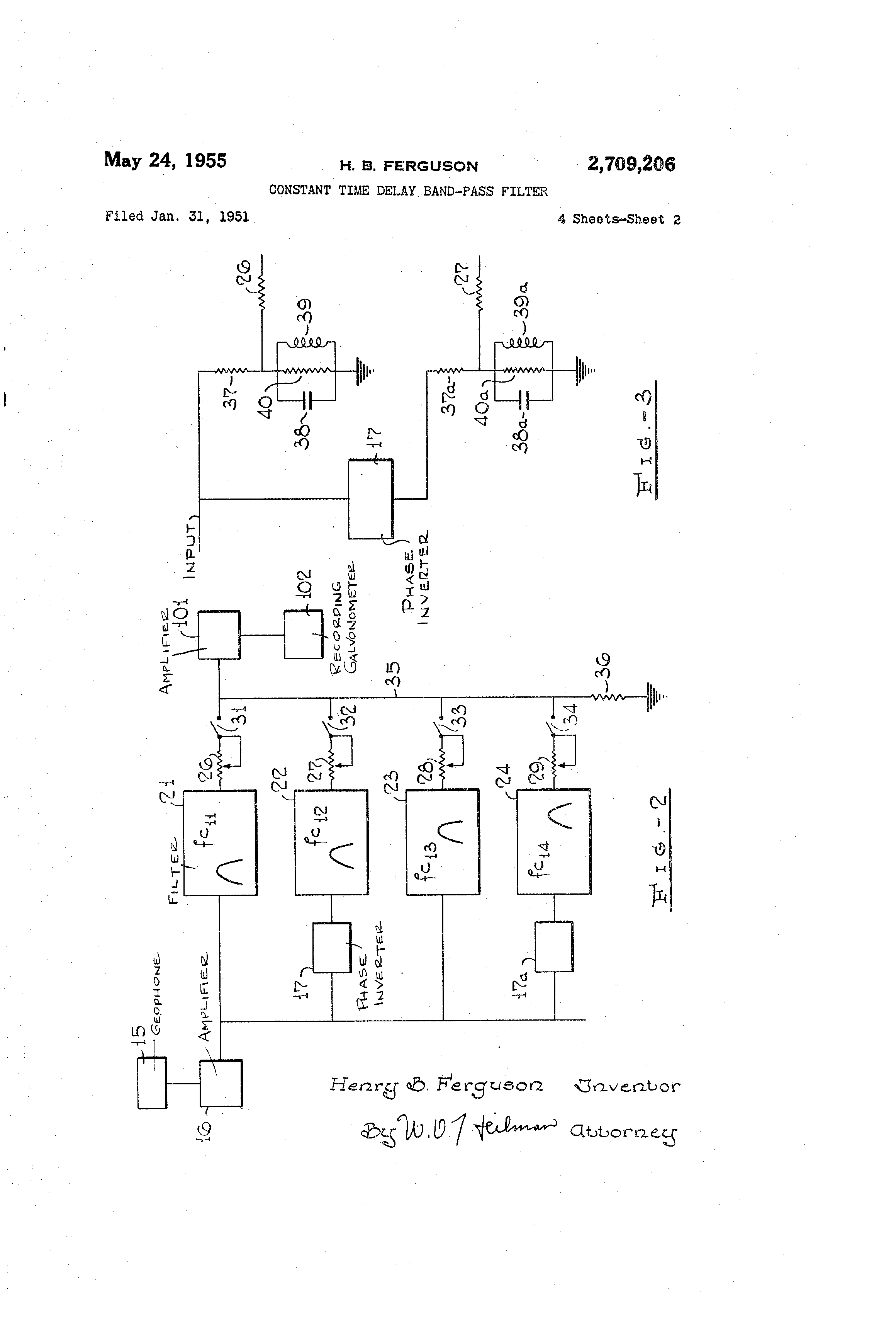 Us2709206a Constant Time Delay Band Pass Filter Google Patents Pre Lifier Circuit Likewise 5 Graphic Equalizer Diagrams