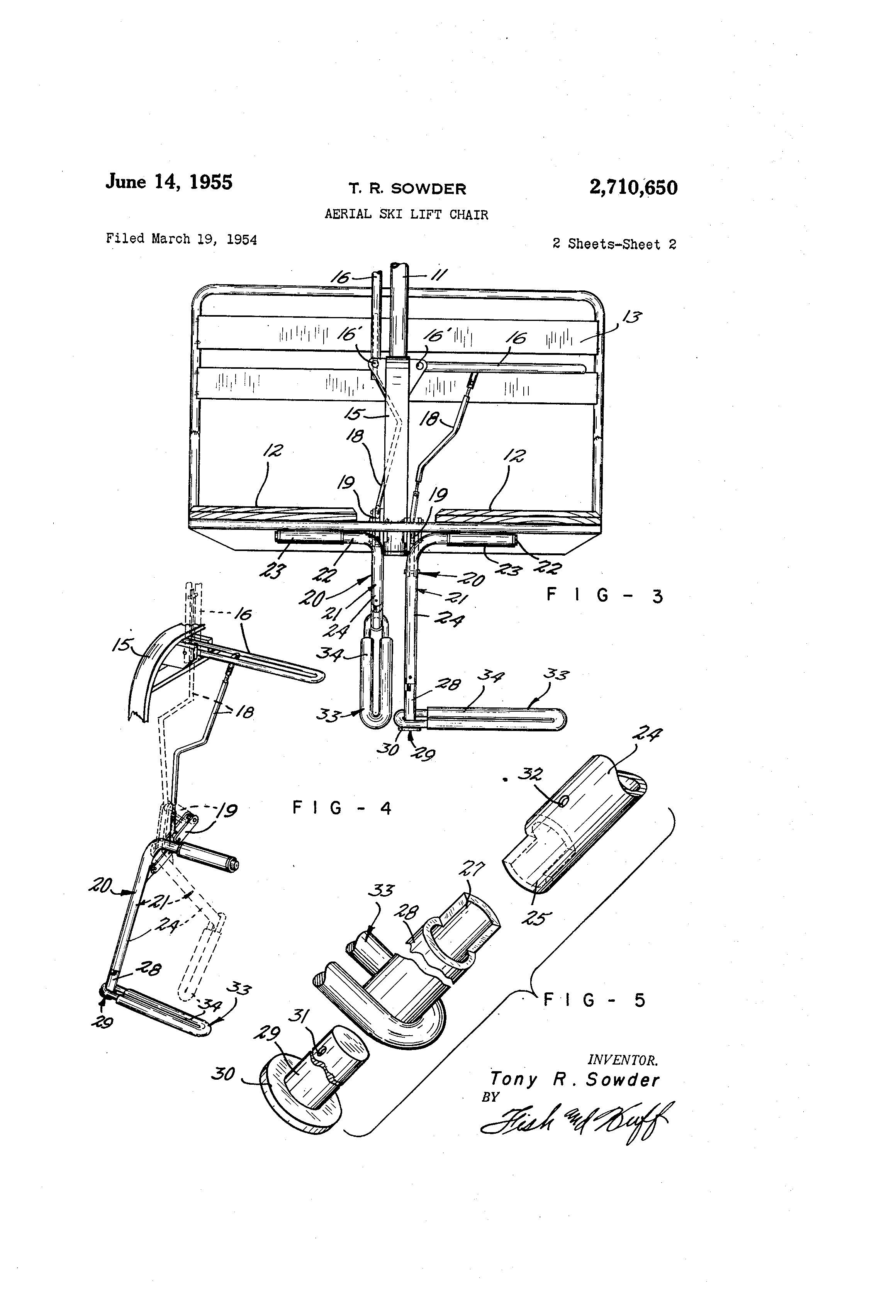 Lift Chair Mechanism - Patent drawing