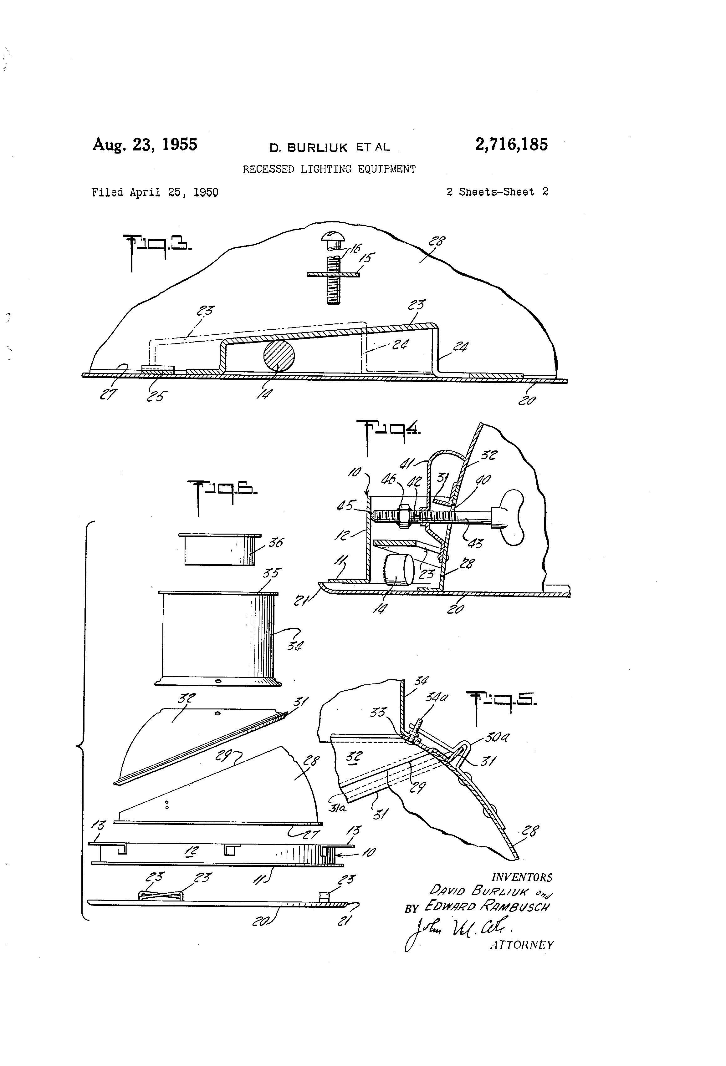 patent us2716185 - recessed lighting equipment
