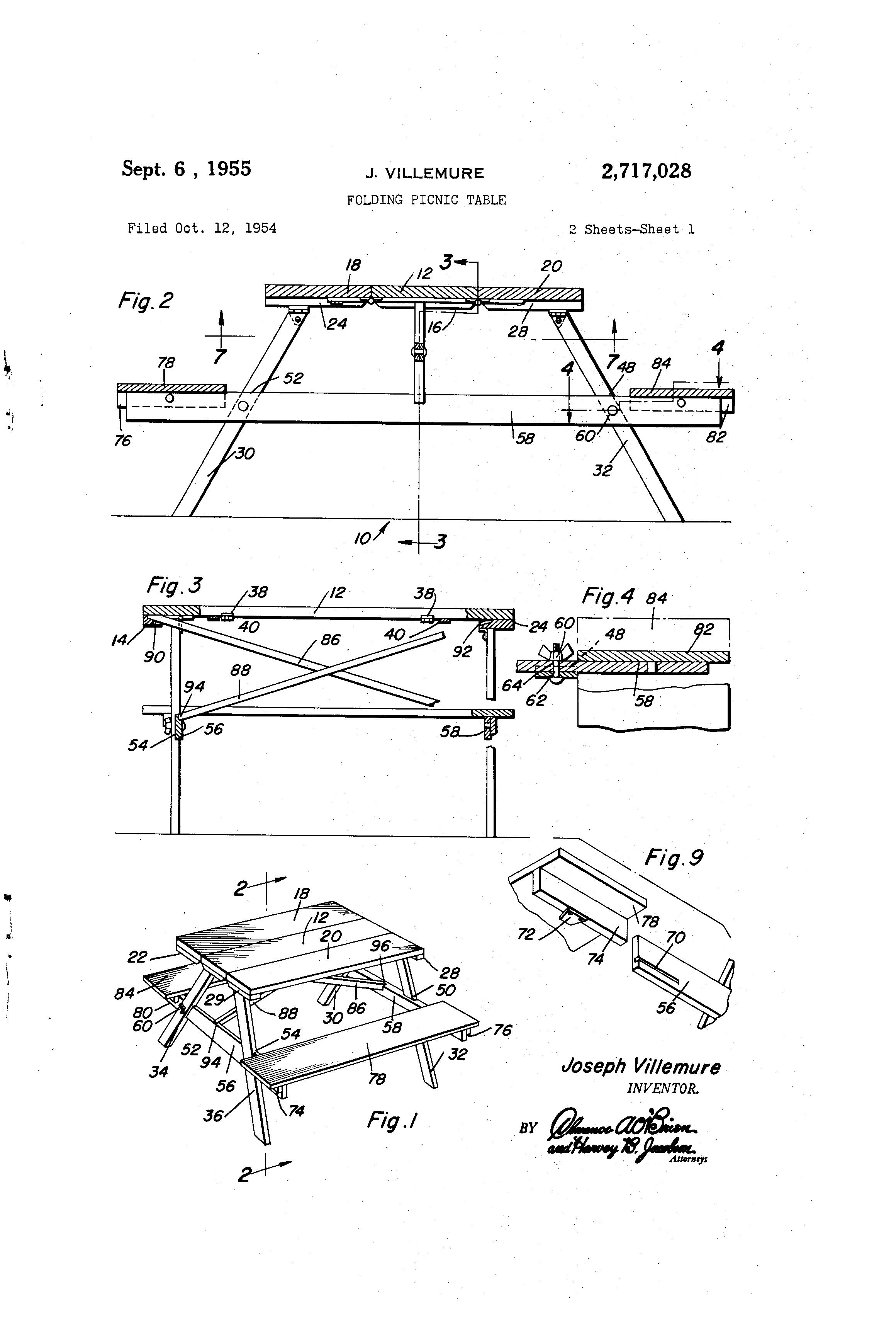 Patent us2717028 folding picnic table google patents for Google table design