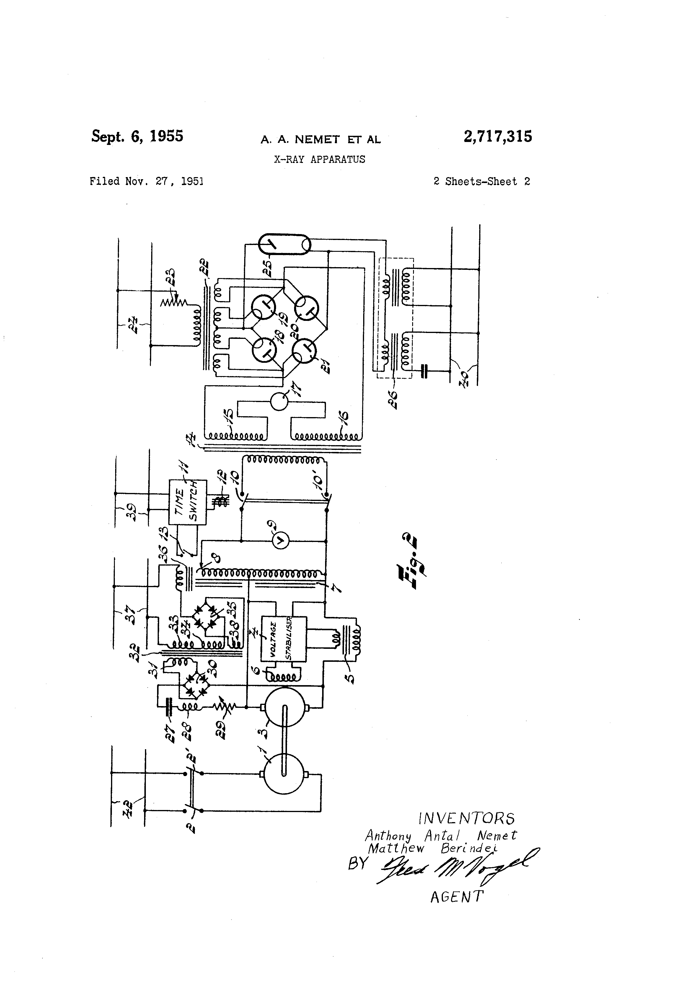 Patente Us2717315 X Ray Apparatus Google Patentes Used This Schematic From Matt As It The Same Transformer I Had Patent Drawing