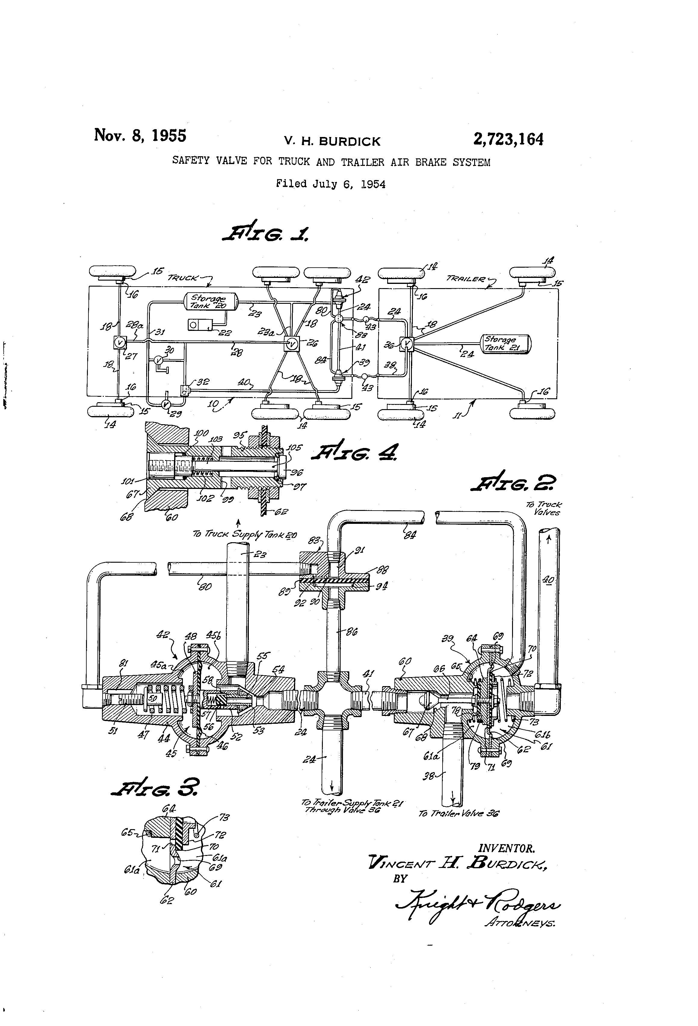 Patent US2723164 - Safety valve for truck and trailer air