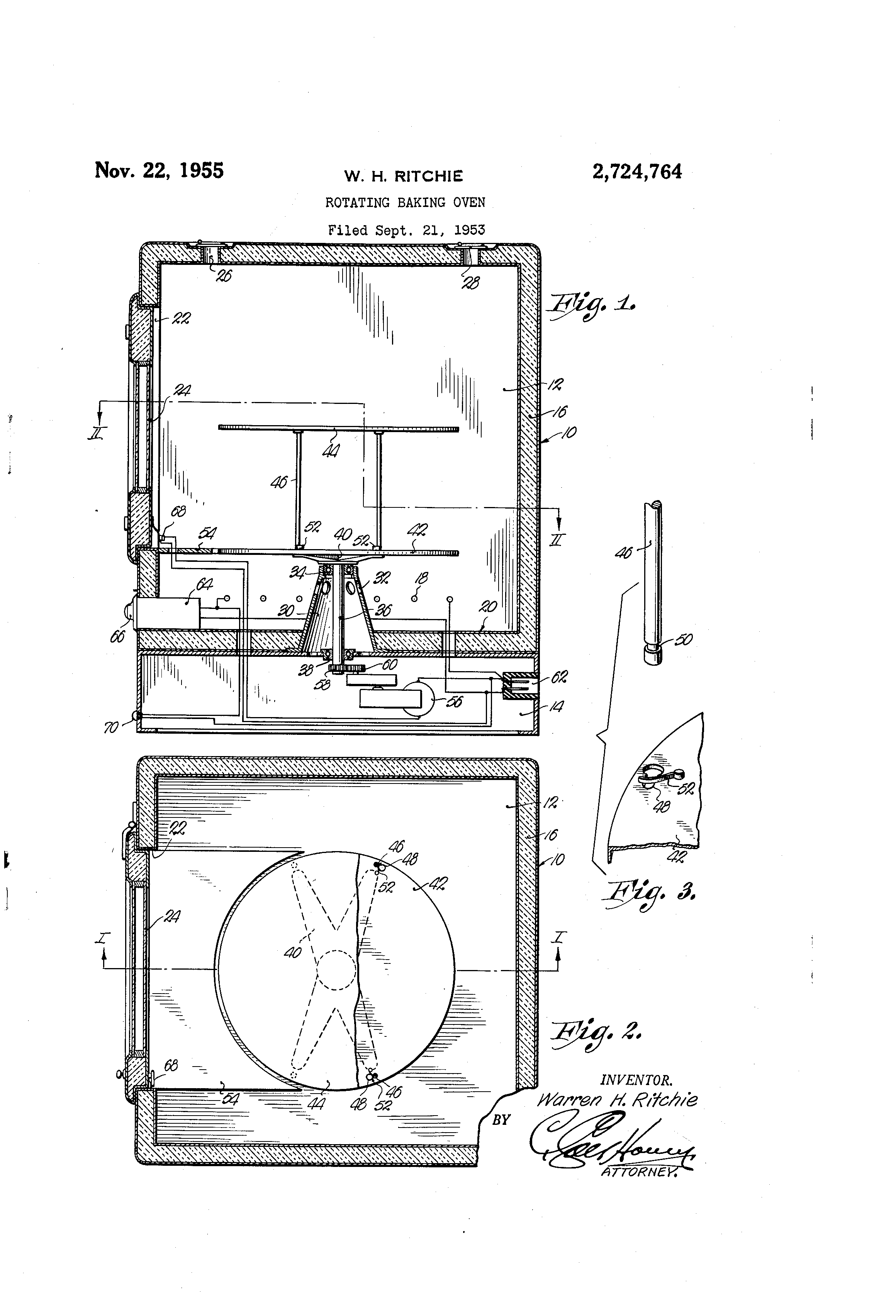 Patent Us2724764 Rotating Baking Oven Google Patents Wiring Diagram Drawing