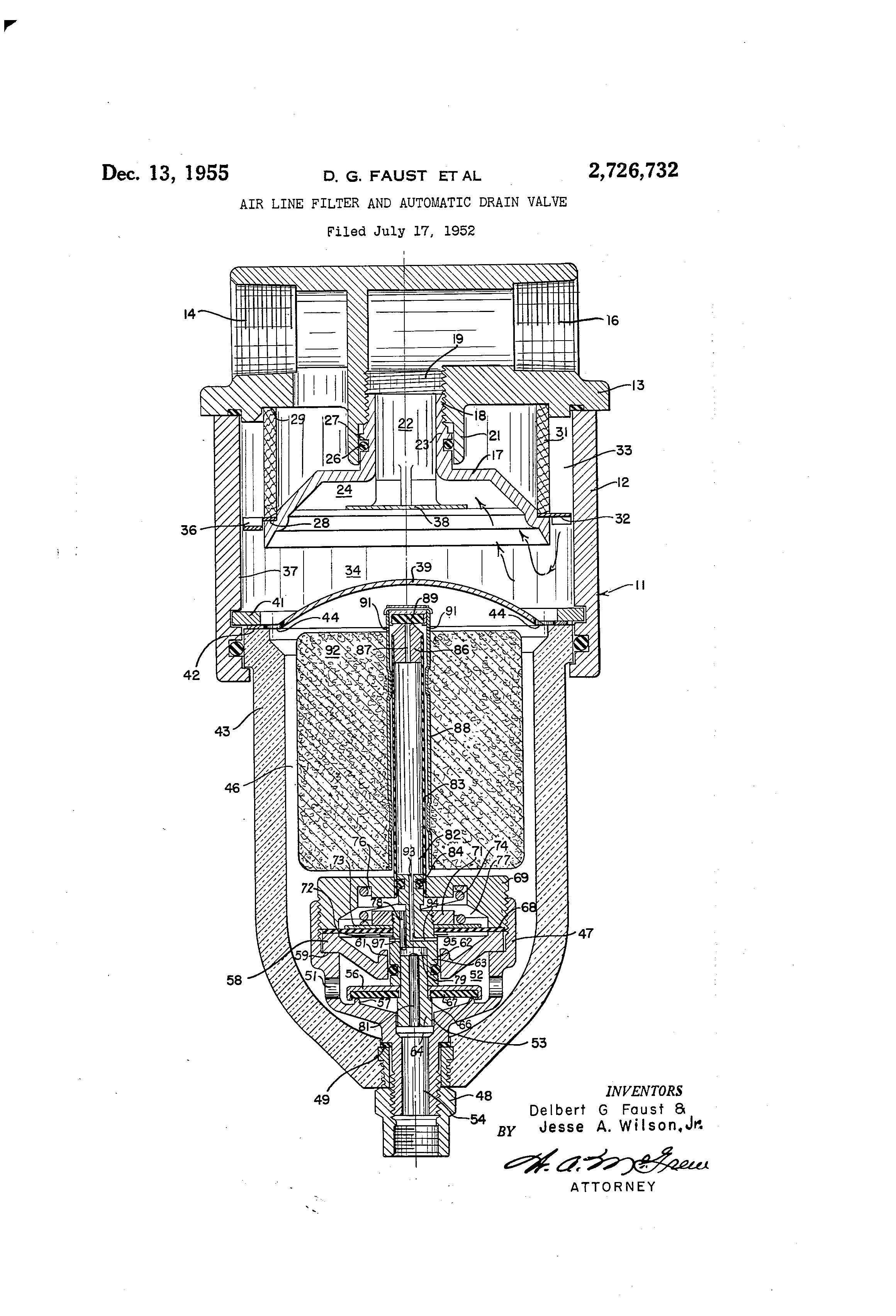 Patent Us2726732 Air Line Filter And Automatic Drain