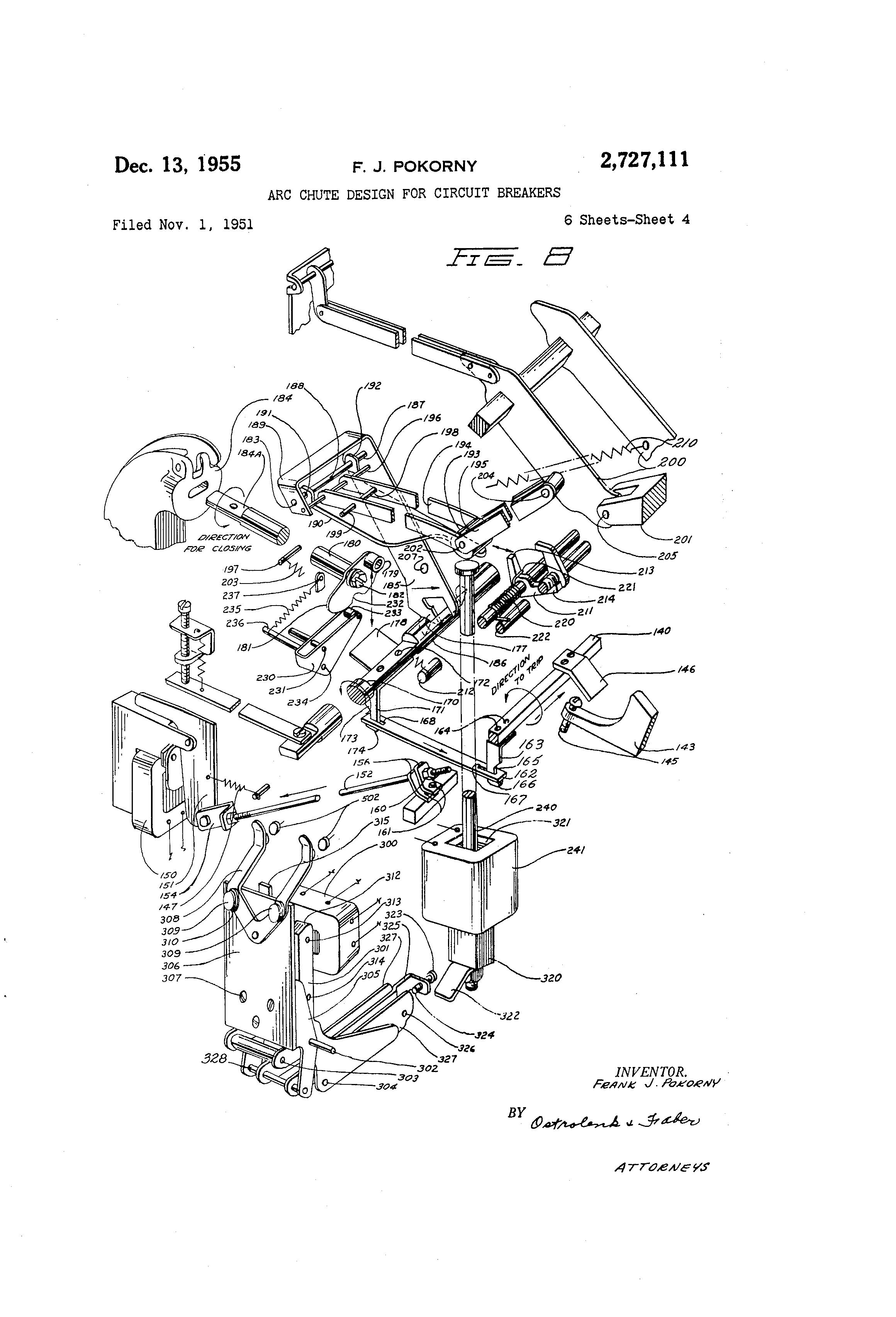 patent us2727111 - arc chute design for circuit breakers