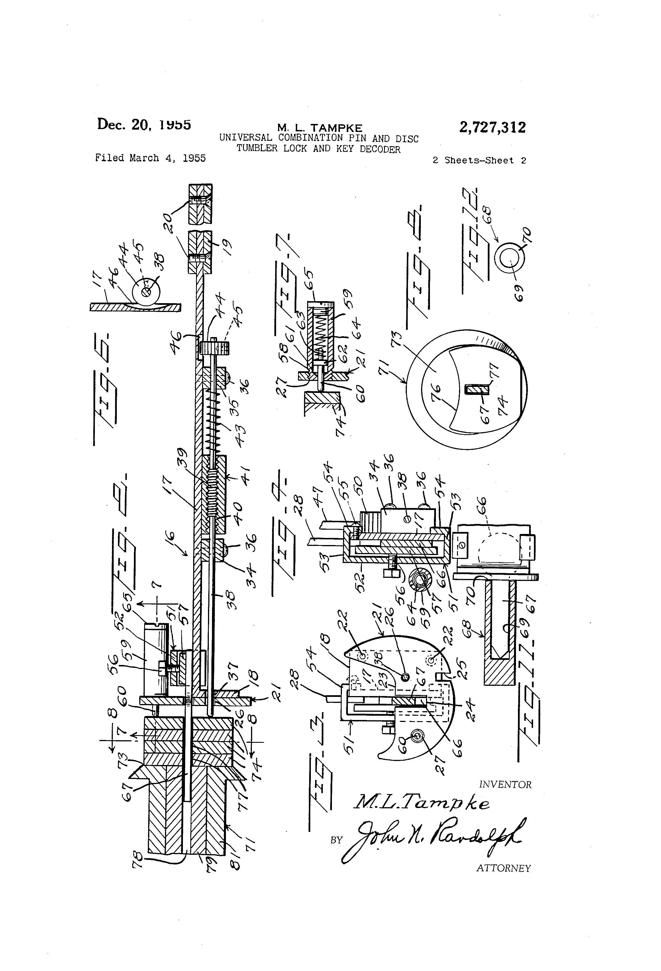 Disc Tumbler Lock Diagram Modern Design Of Wiring Picking Brevet Us2727312 Universal Combination Pin And Rh Google Dj Pick