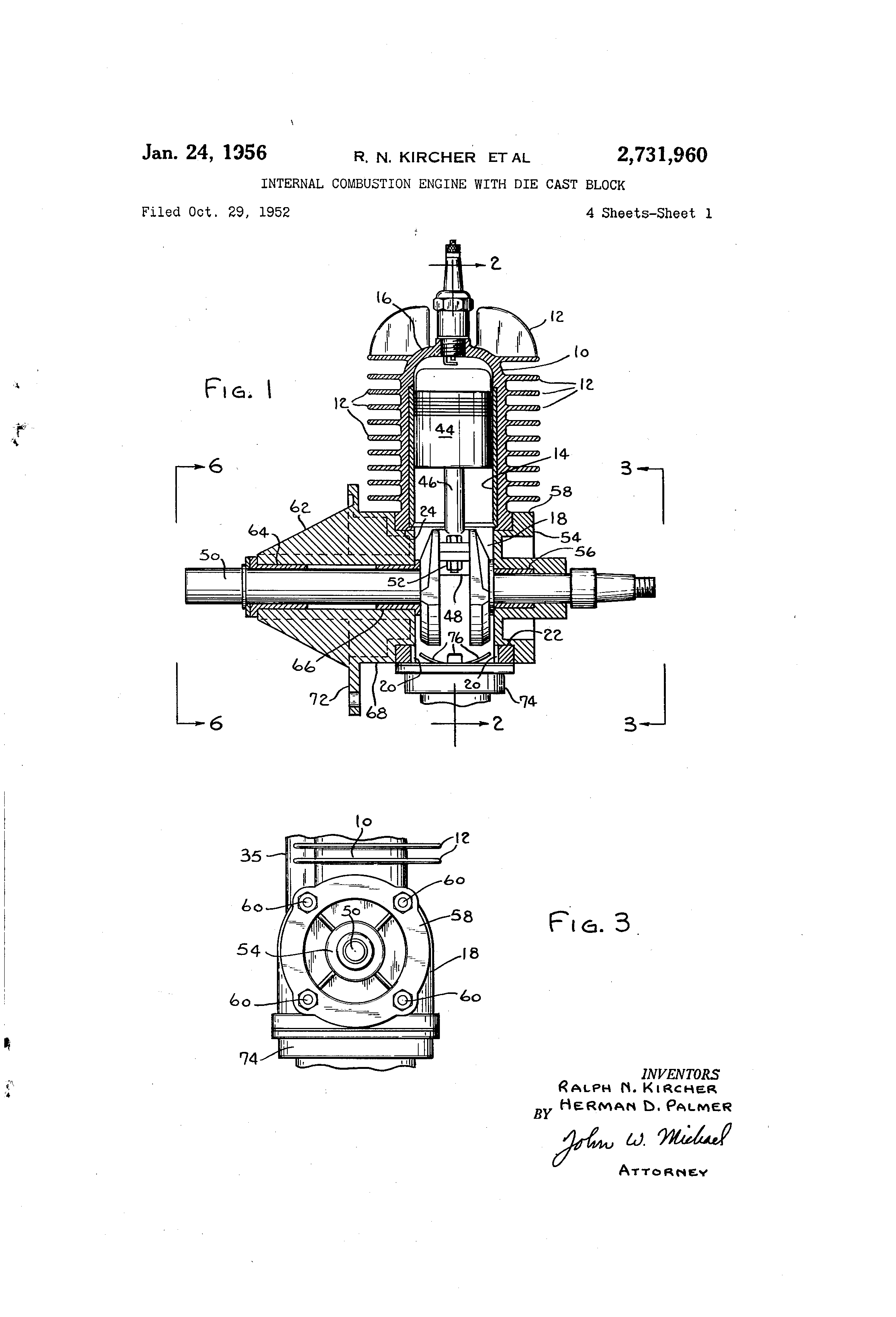 patent us2731960 internal combustion engine with die. Black Bedroom Furniture Sets. Home Design Ideas