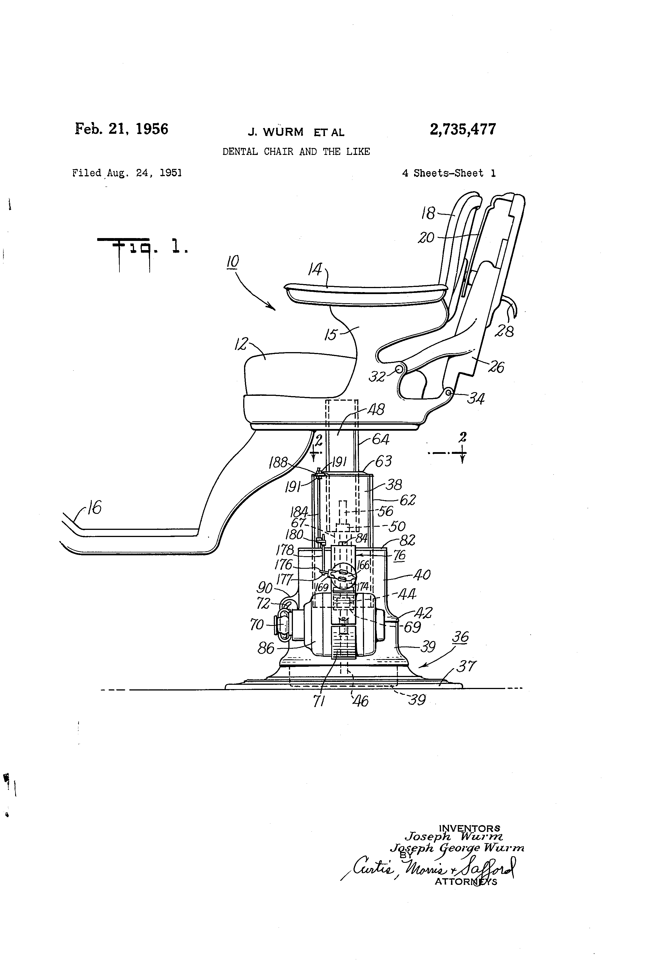 Patent Us2735477 - Dental Chair And The Like