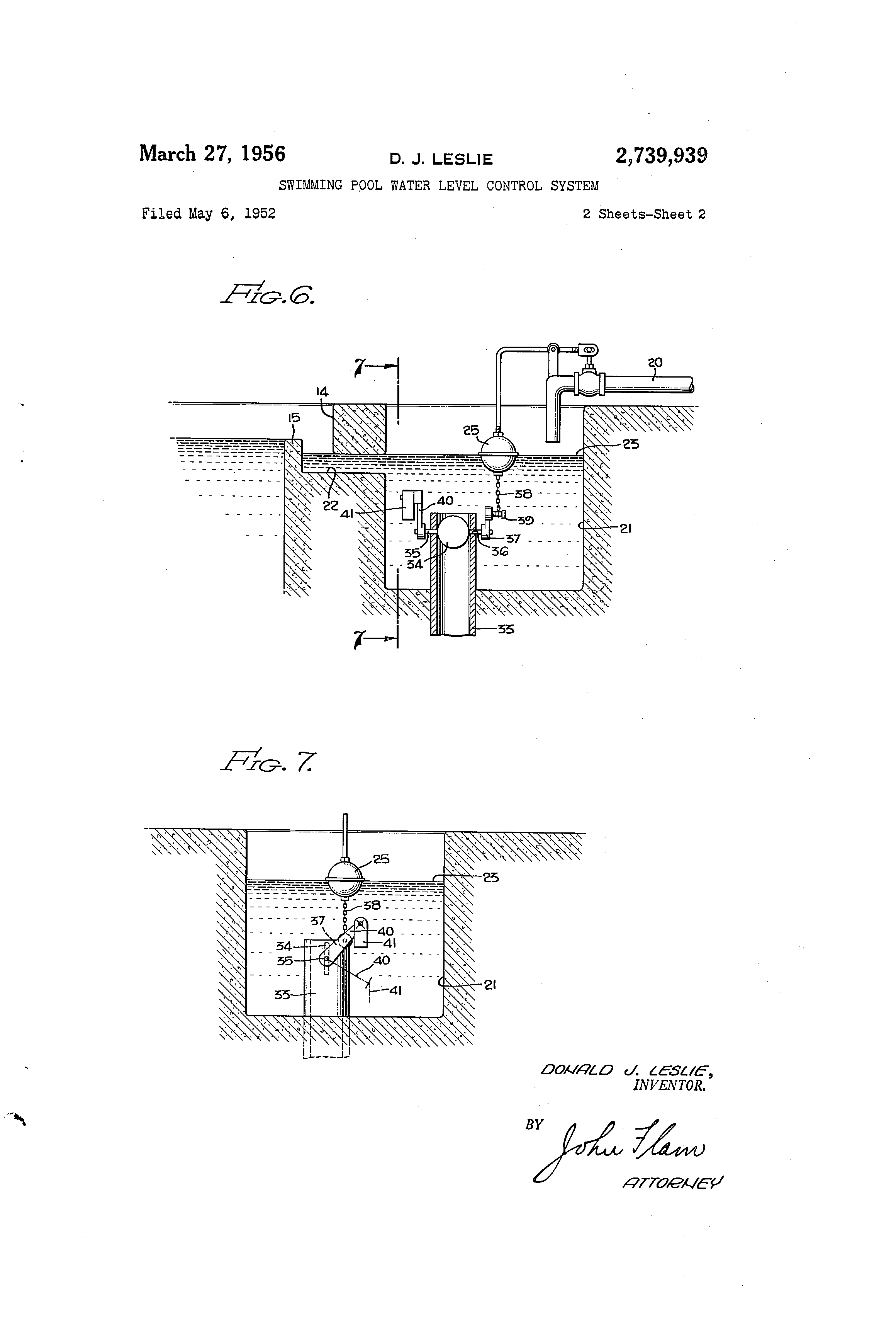 Patent Us2739939 Swimming Pool Water Level Control System Google Patents