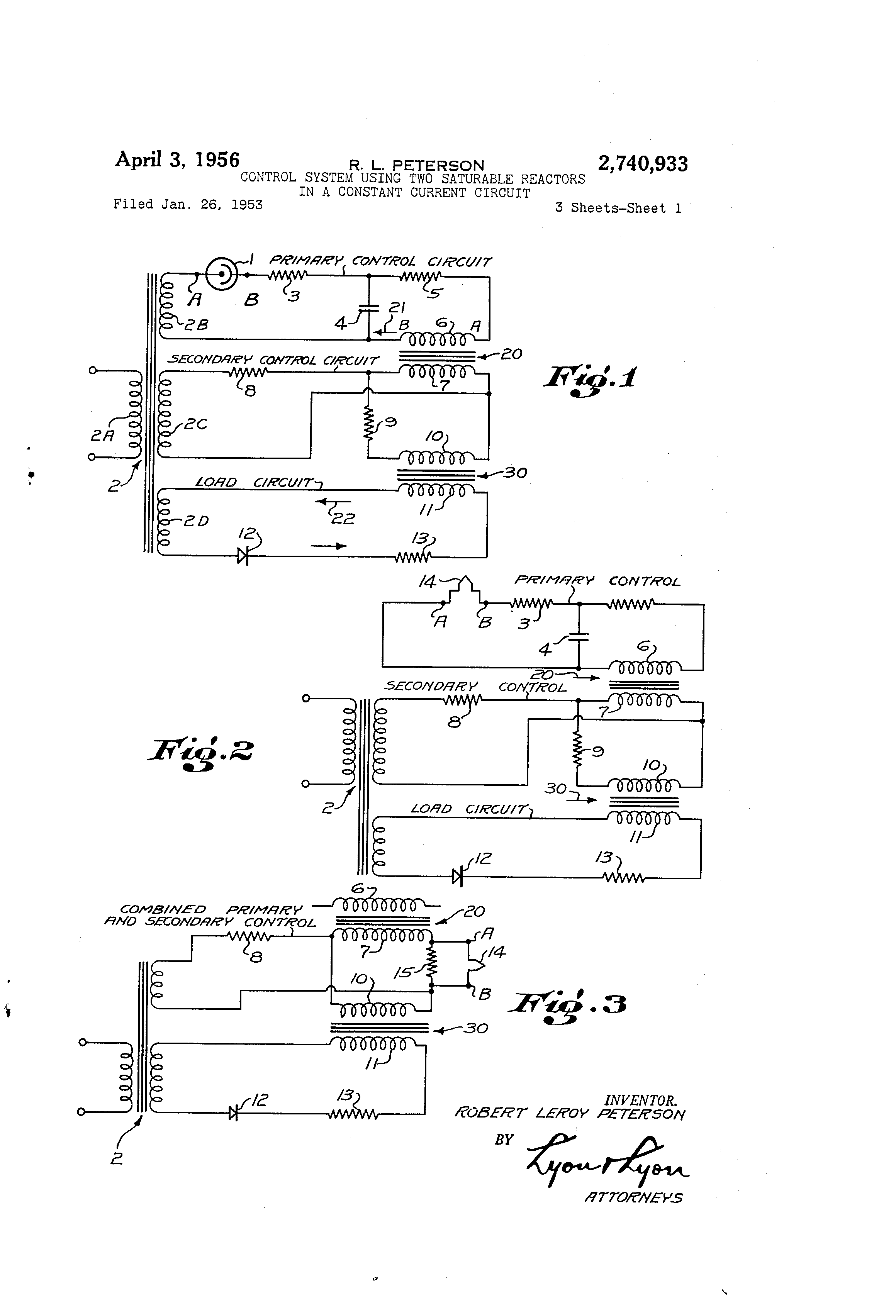 Patent Us2740933 Control System Using Two Saturable Reactors In A Adjustable Constant Current Load Drawing