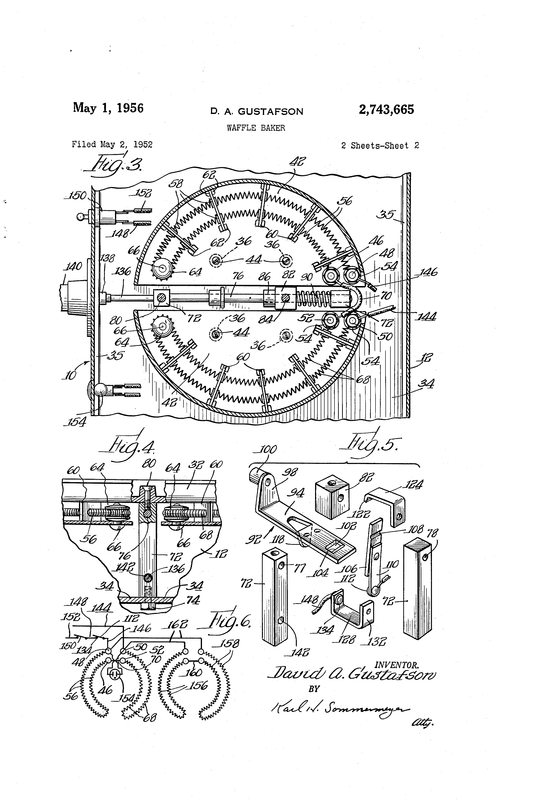 US2743665 1 patent us2743665 waffle baker google patents wells waffle maker commercial wiring diagrams at mifinder.co