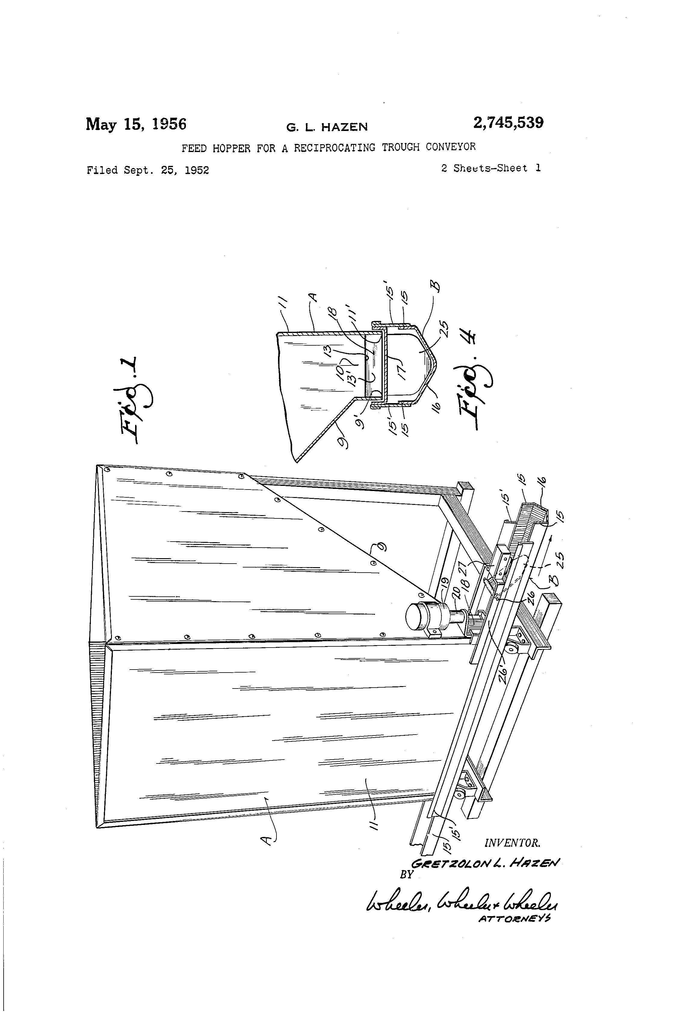 Brevet US2745539 - Feed hopper for a reciprocating trough conveyor