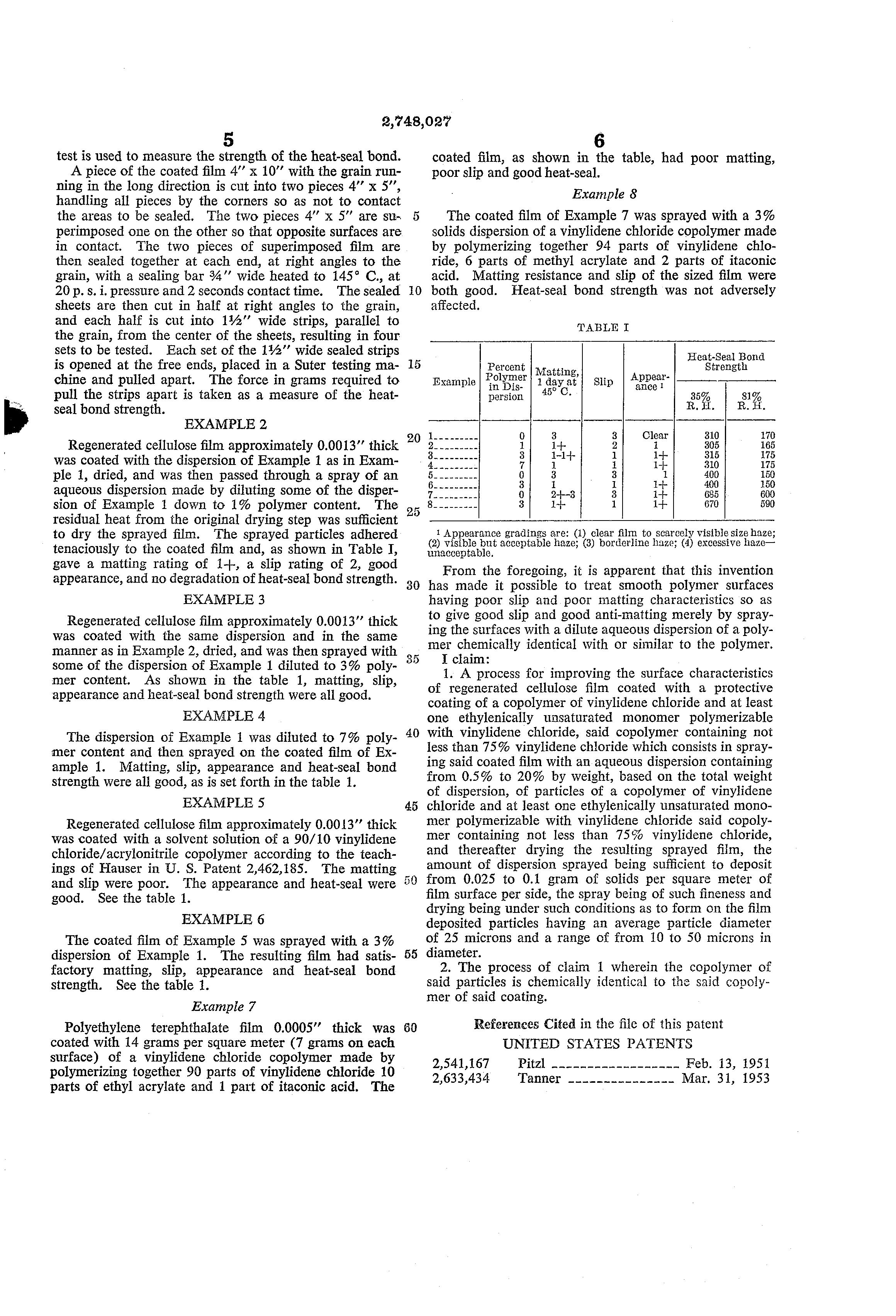 Brevet US2748027 - Sizing of vinylidene chloride copolymer