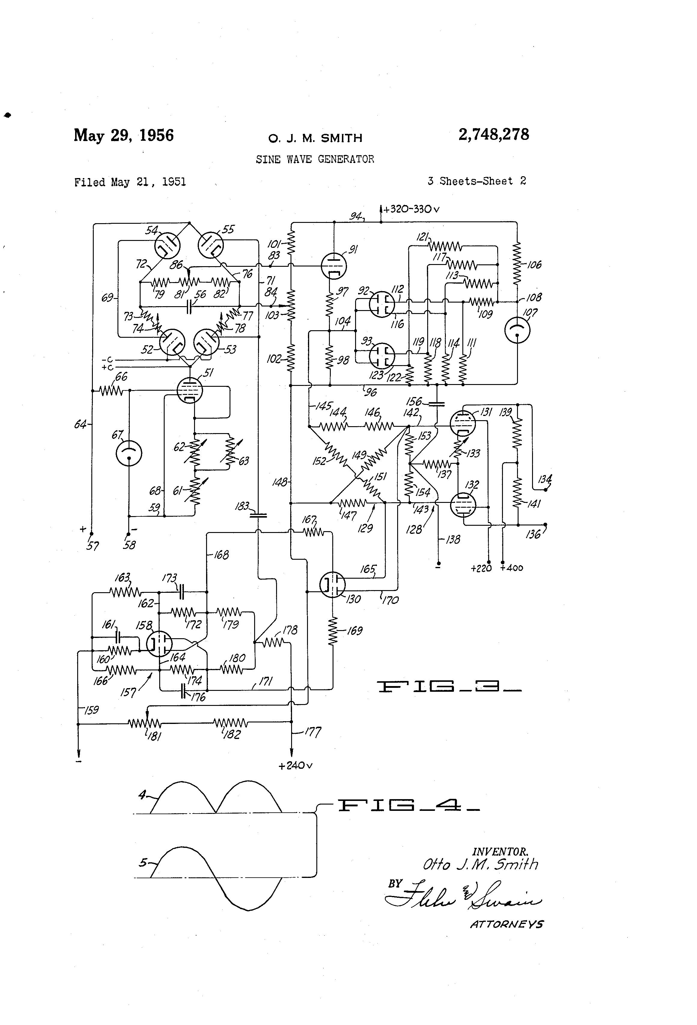 براءة الاختراع US2748278 - Sine wave generator - براءات