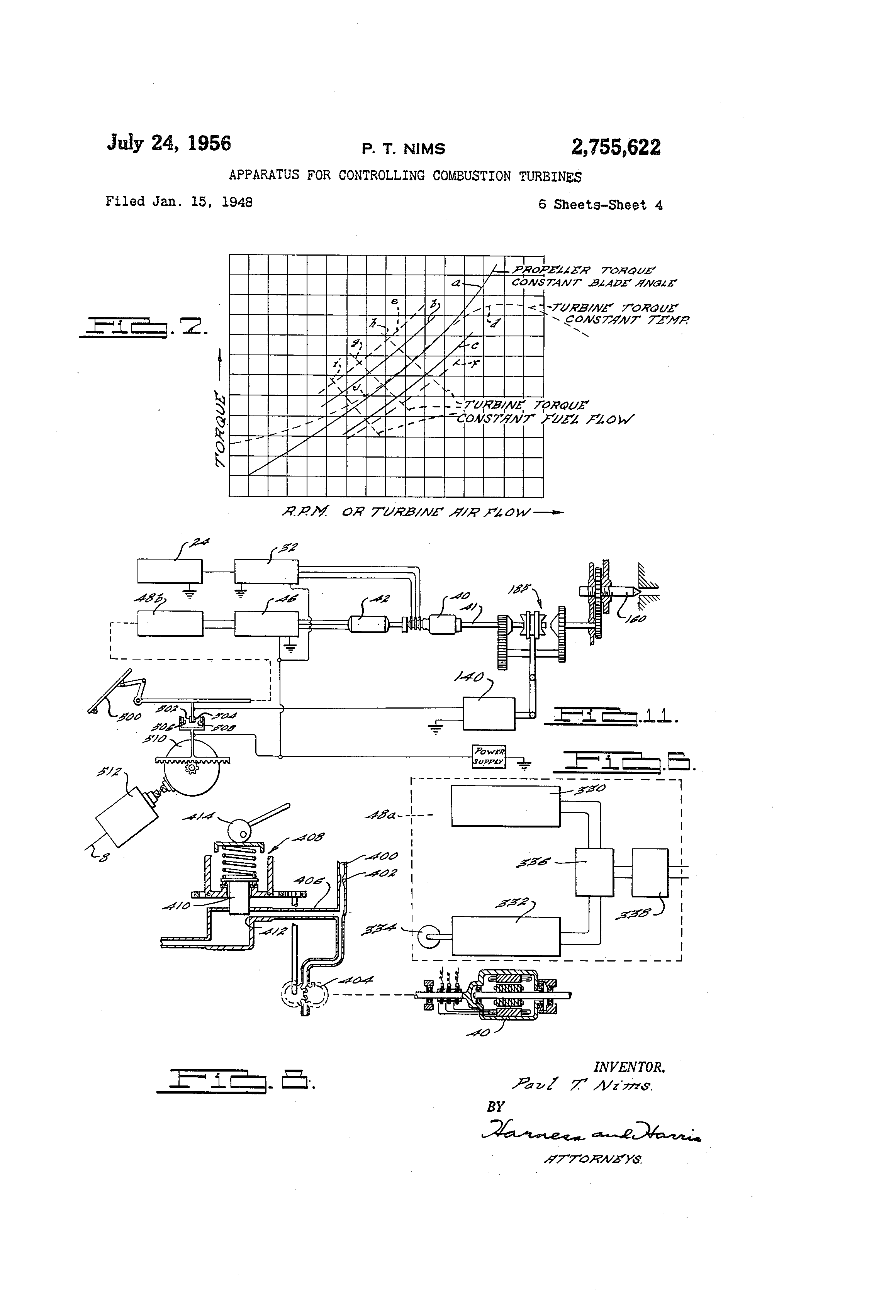 Patent Us2755622 Apparatus For Controlling Combustion Turbines 3 1l Engine Fuel Flow Diagram Drawing