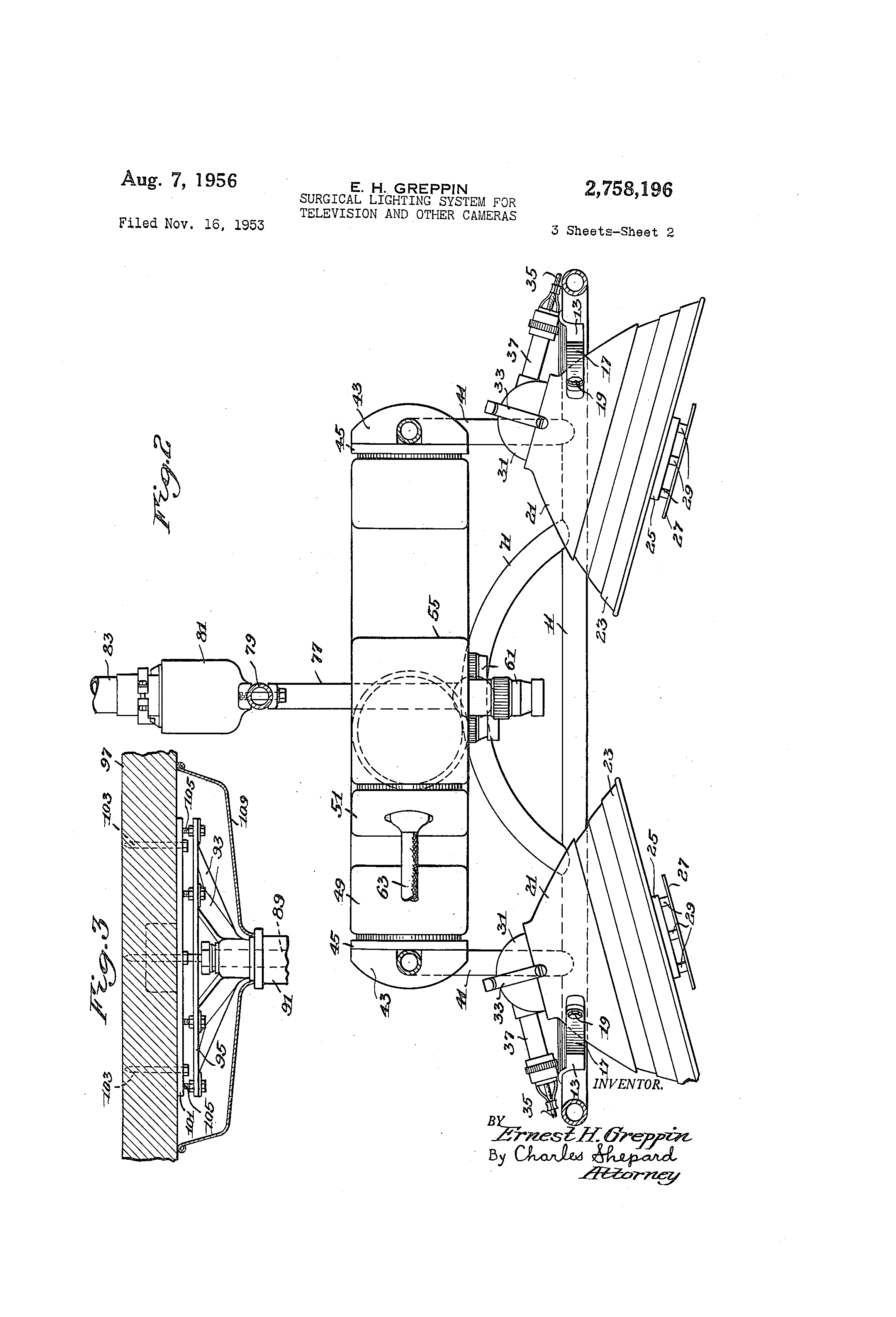 US2758196 1 castle surgery light wiring diagram strobe wiring diagram Light Switch Wiring Diagram at mifinder.co