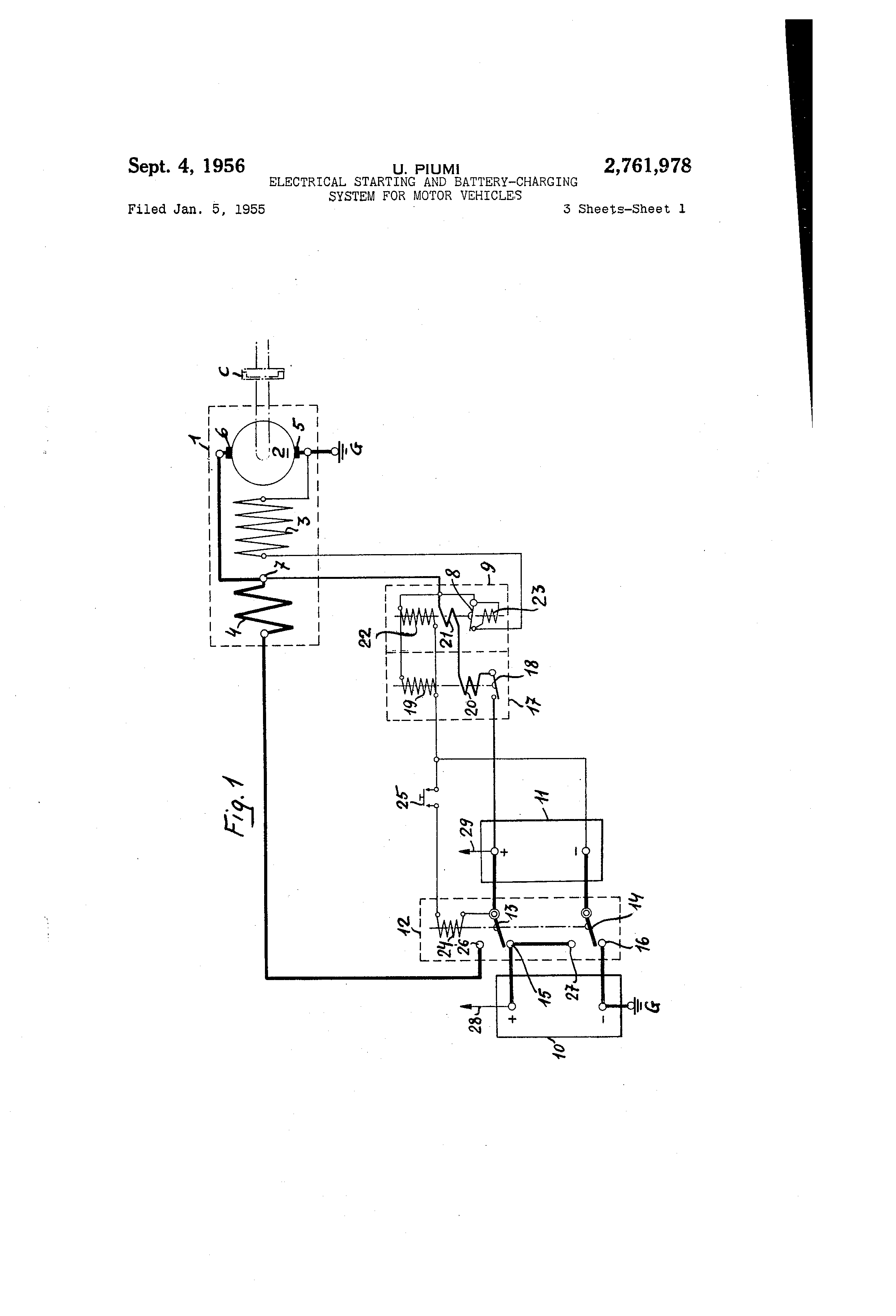 Patent Us2761978 Electrical Starting And Battery Charging System Valeo Starter Generator Wiring Diagram Drawing