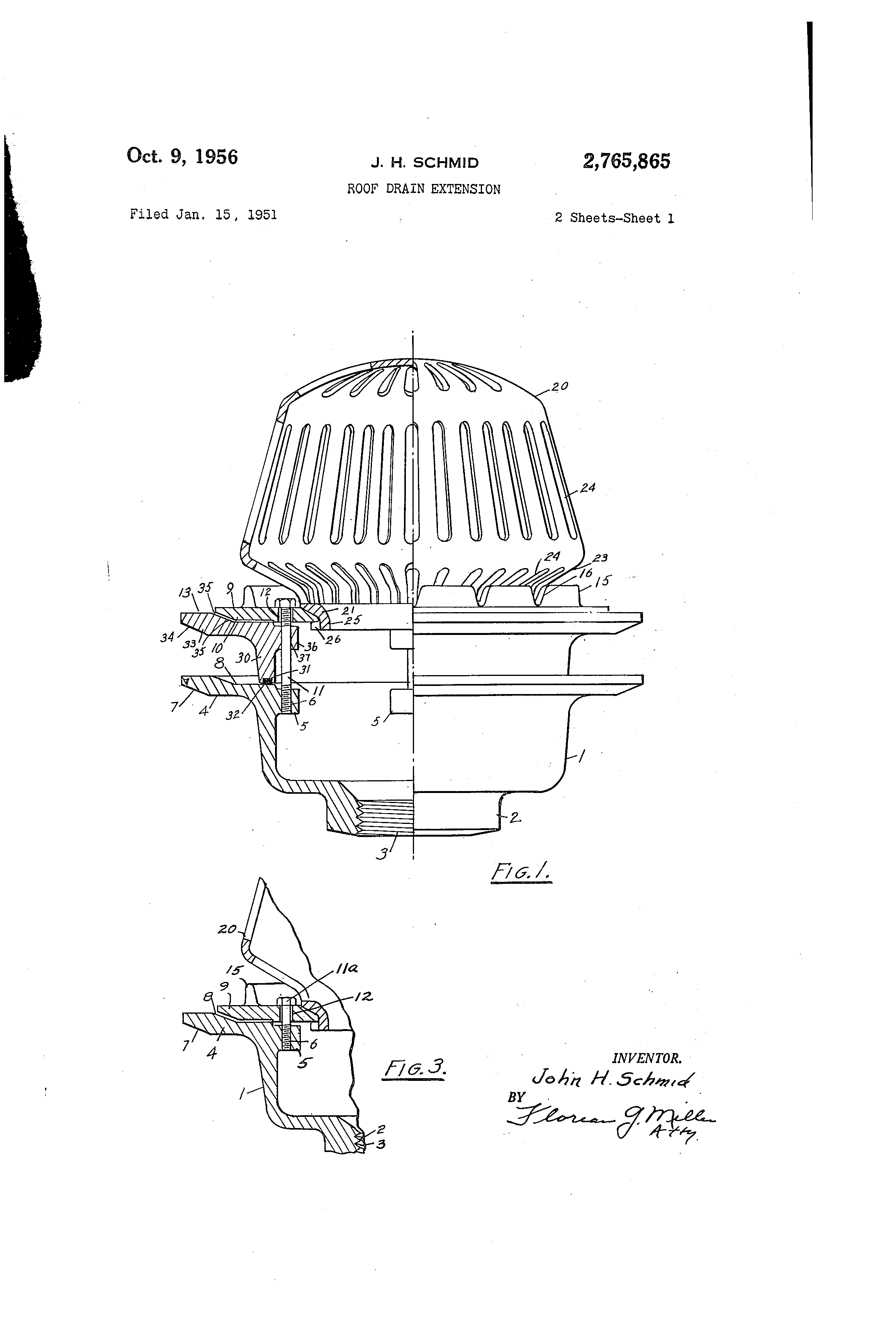 Patent Us2765865 Roof Drain Extension Google Patents