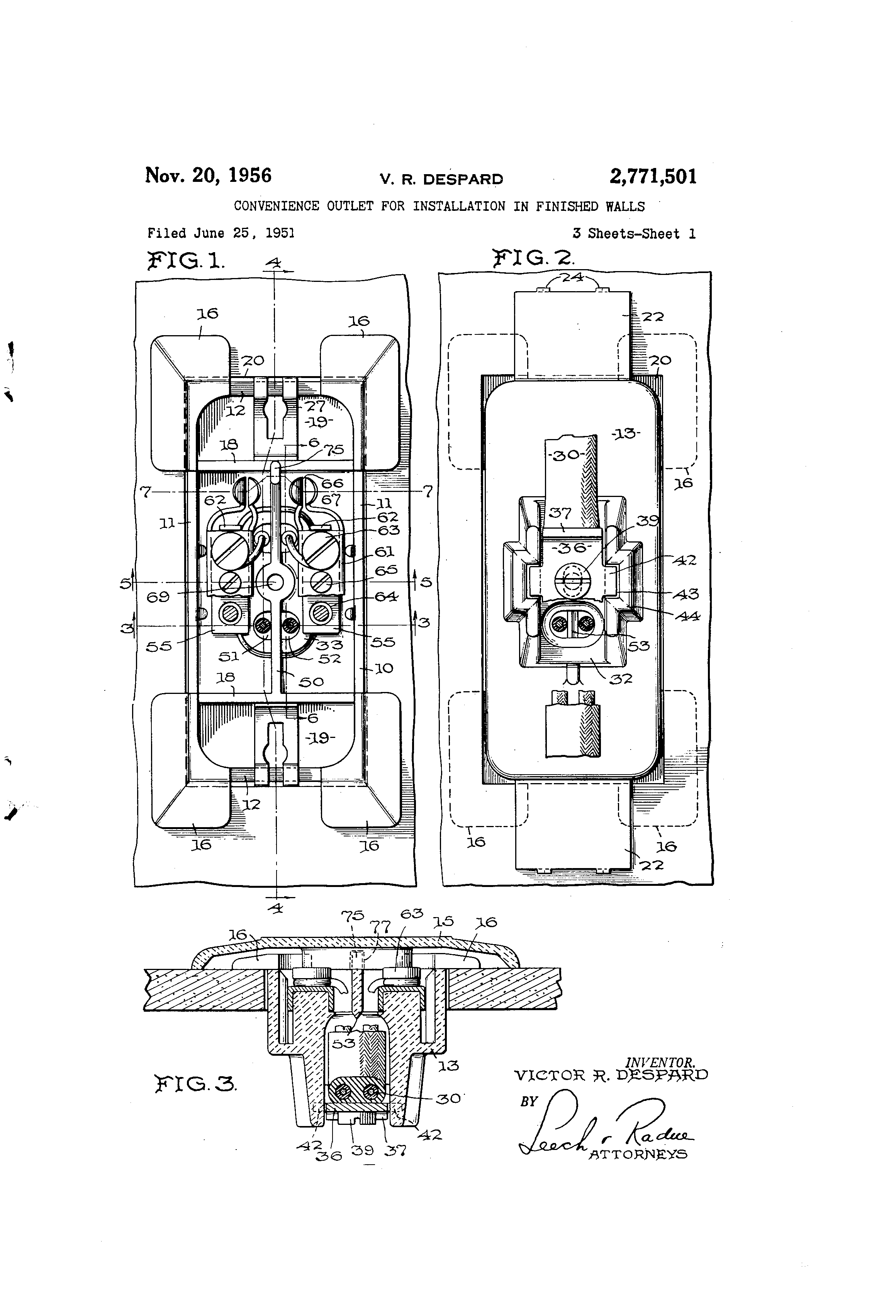patent us2771501 - convenience outlet for installation in finished walls