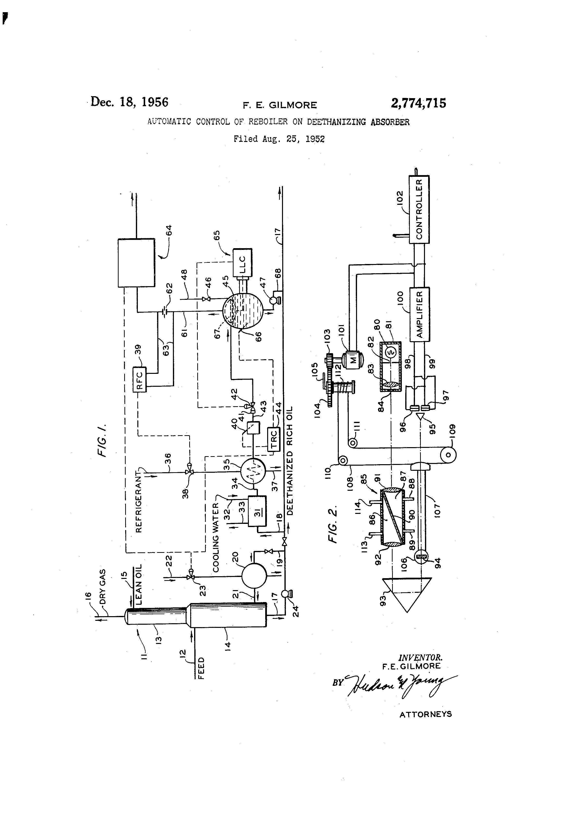 patent us2774715 - automatic control of reboiler on deethanizing absorber