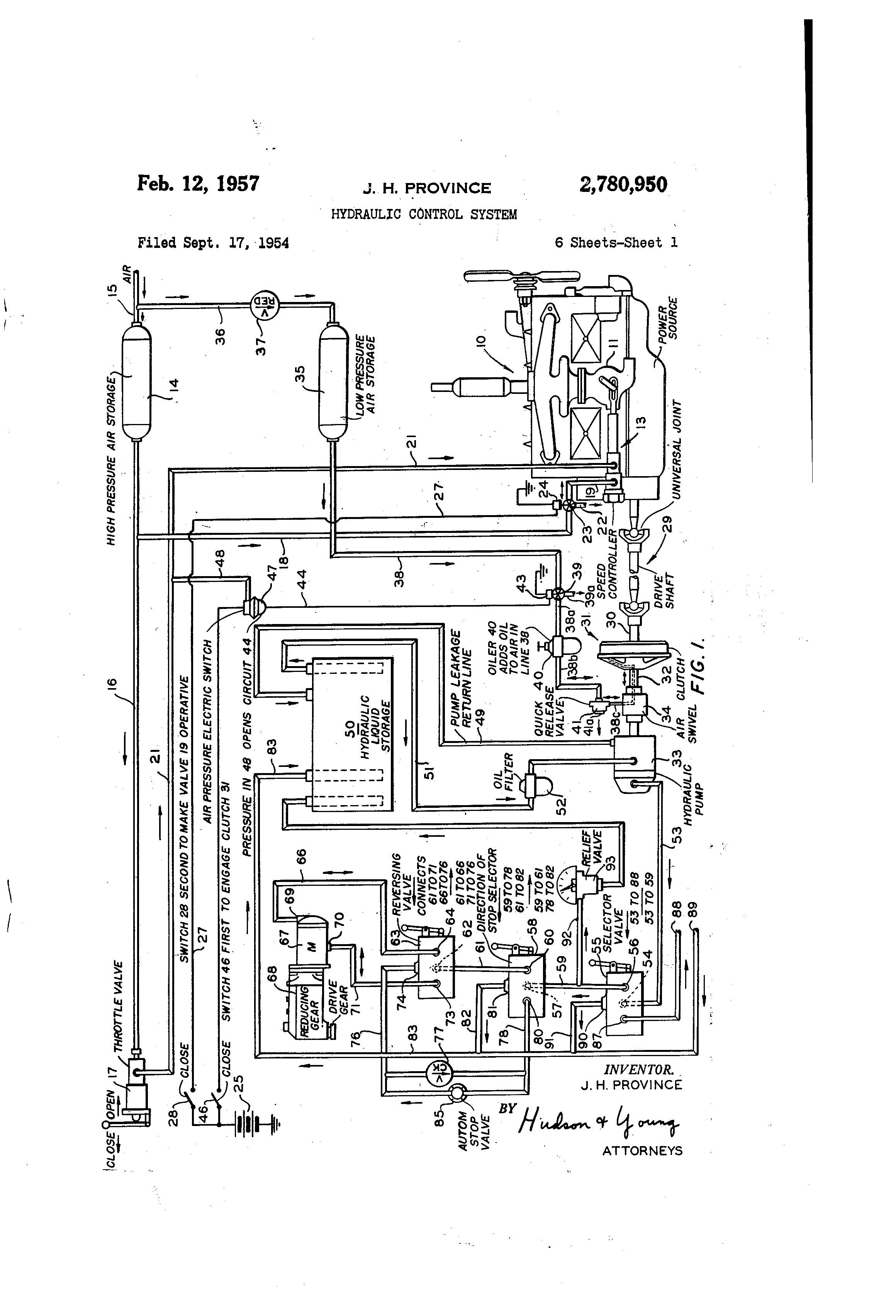 patent us2780950 - hydraulic control system