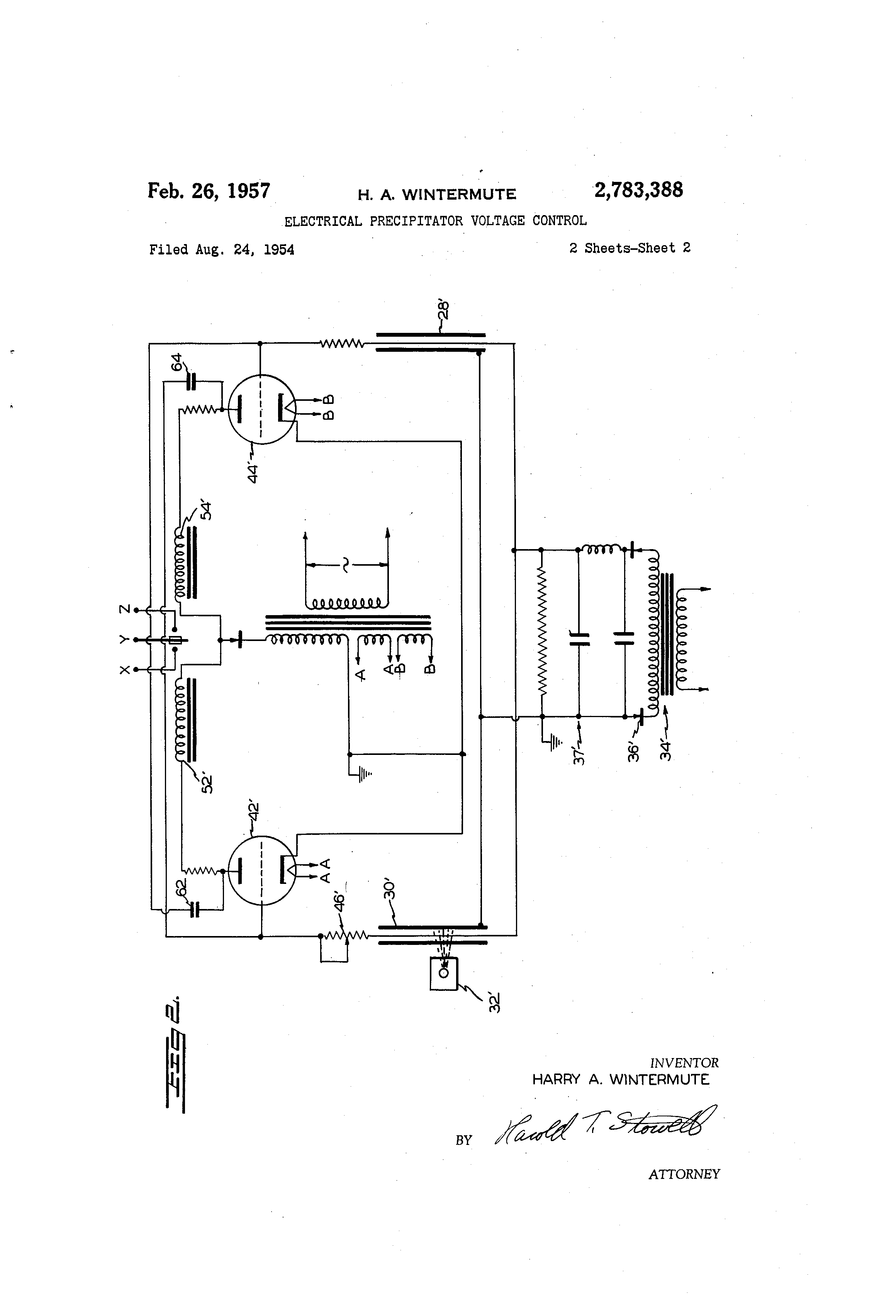 Brevet Us2783388 Electrical Precipitator Voltage Control Google Geiger Counter Circuit Schematic Patent Drawing