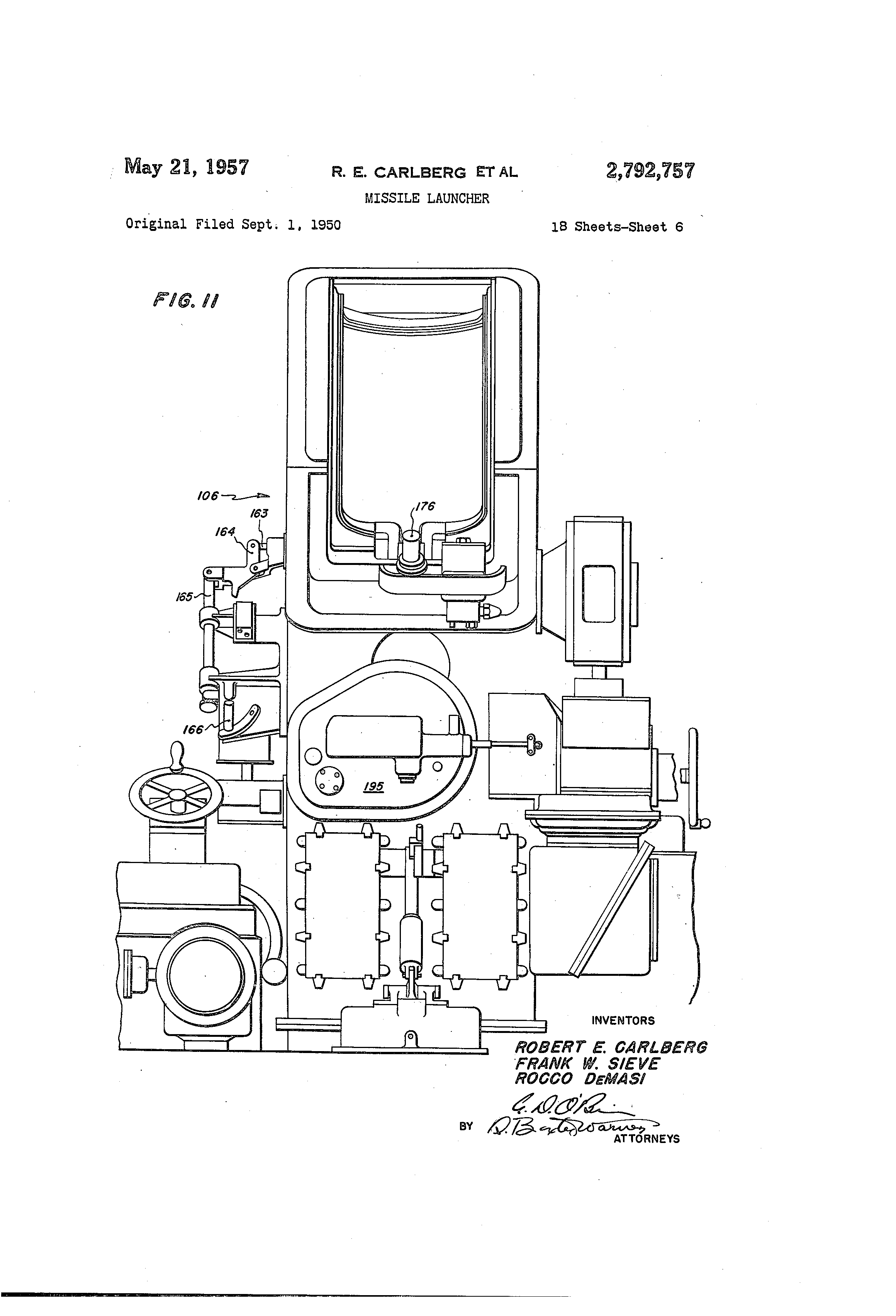 Us2792757 Missile Launcher Google Bobber Kz650 Wiring Diagram Patent Drawing