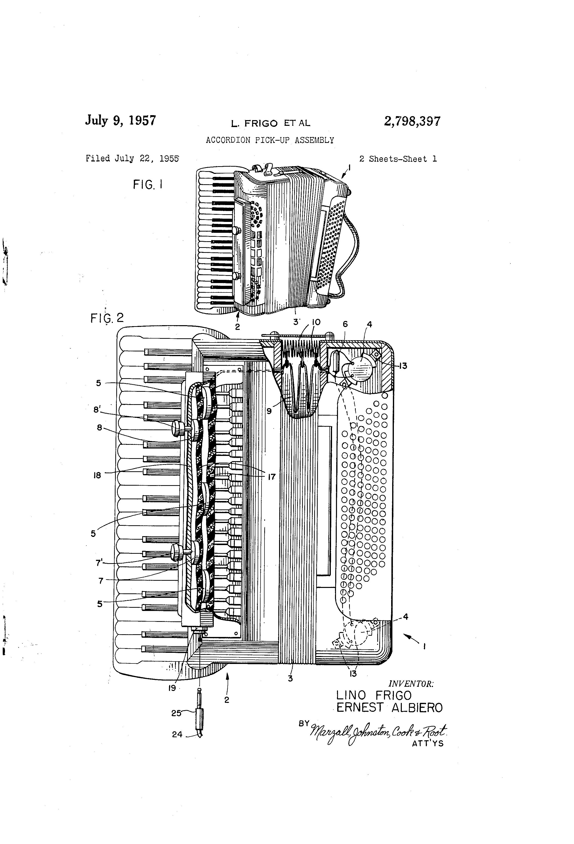 Patent US2798397 - Accordion pick-up assembly - Google Patents