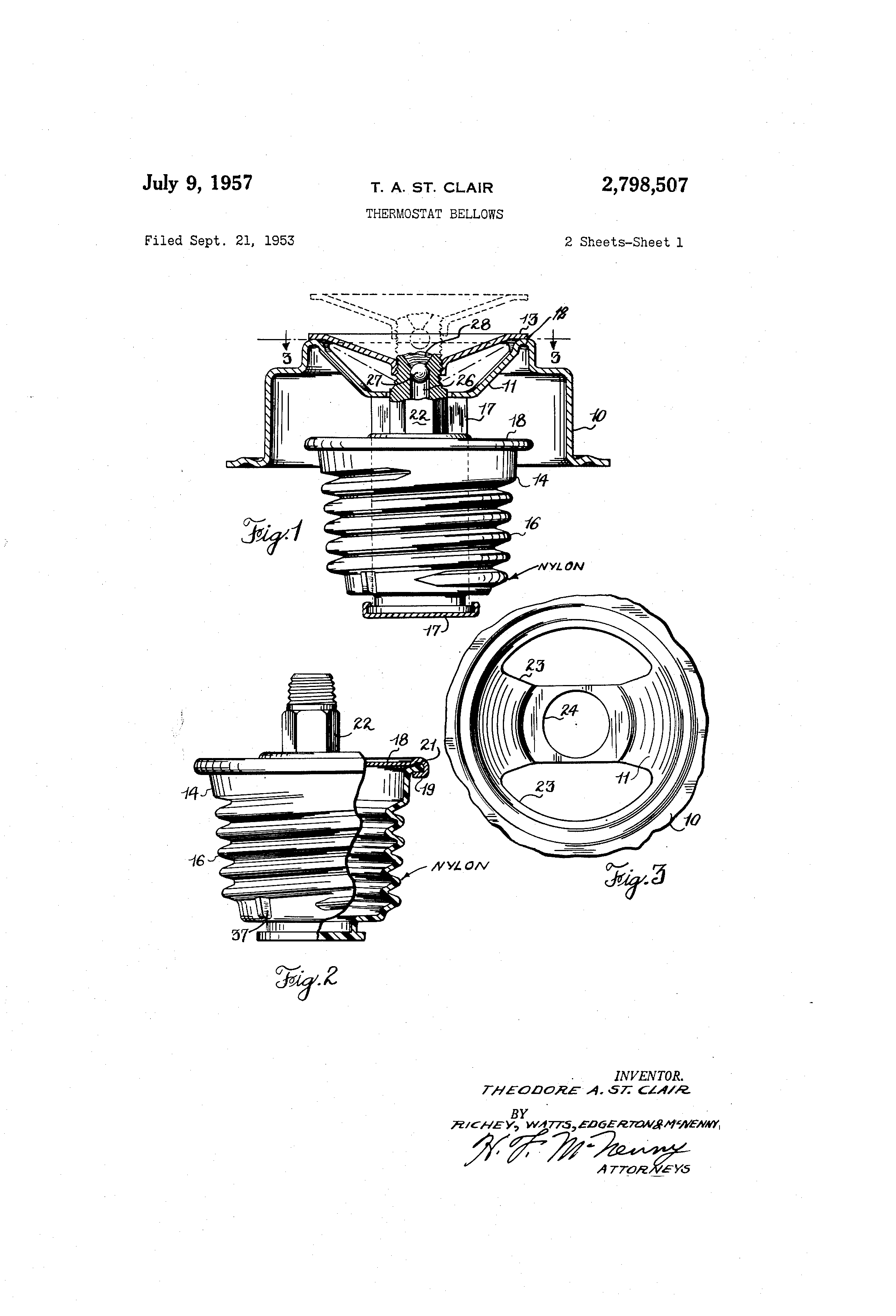 Patent Us2798507 - Thermostat Bellows