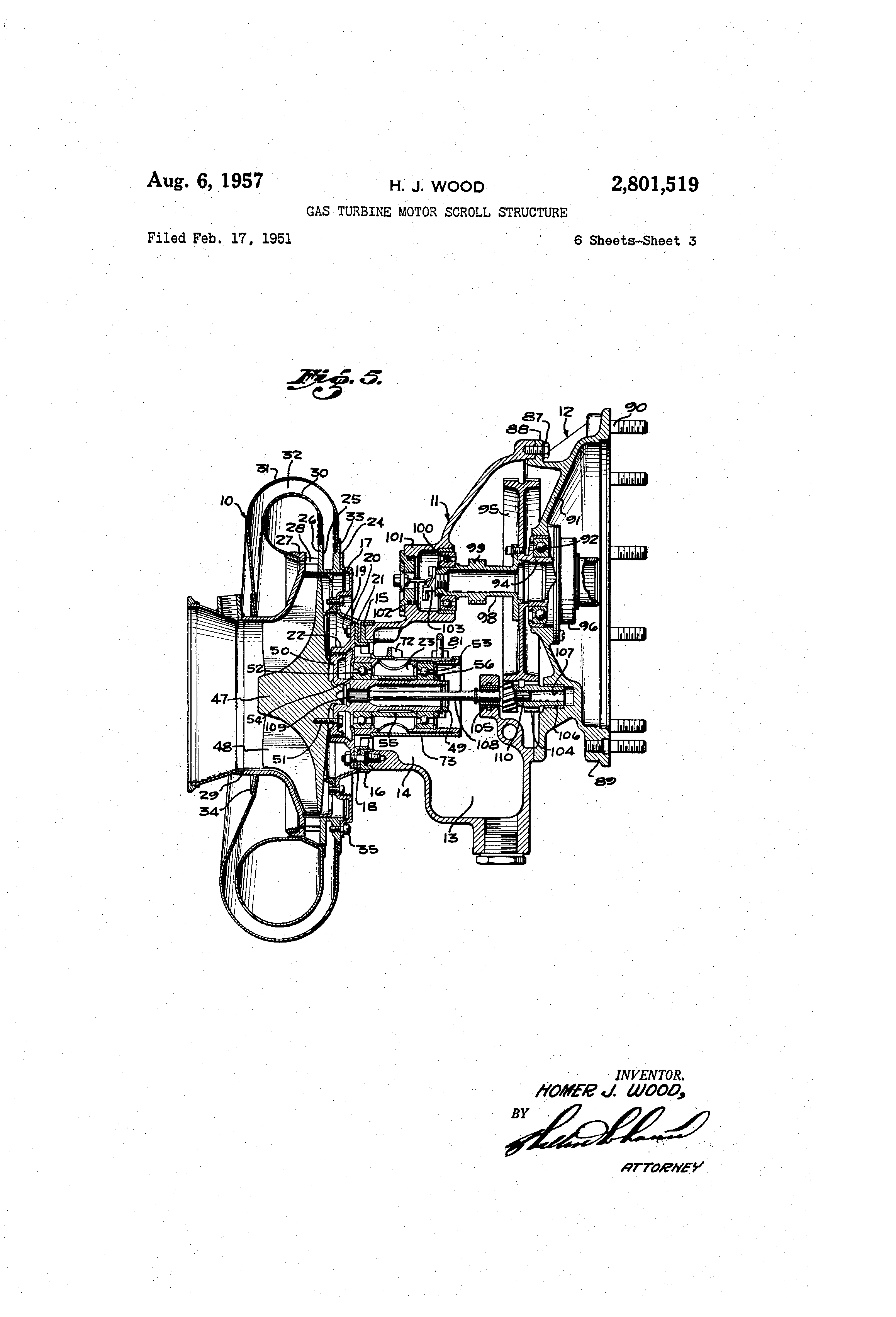patent us2801519 - gas turbine motor scroll structure