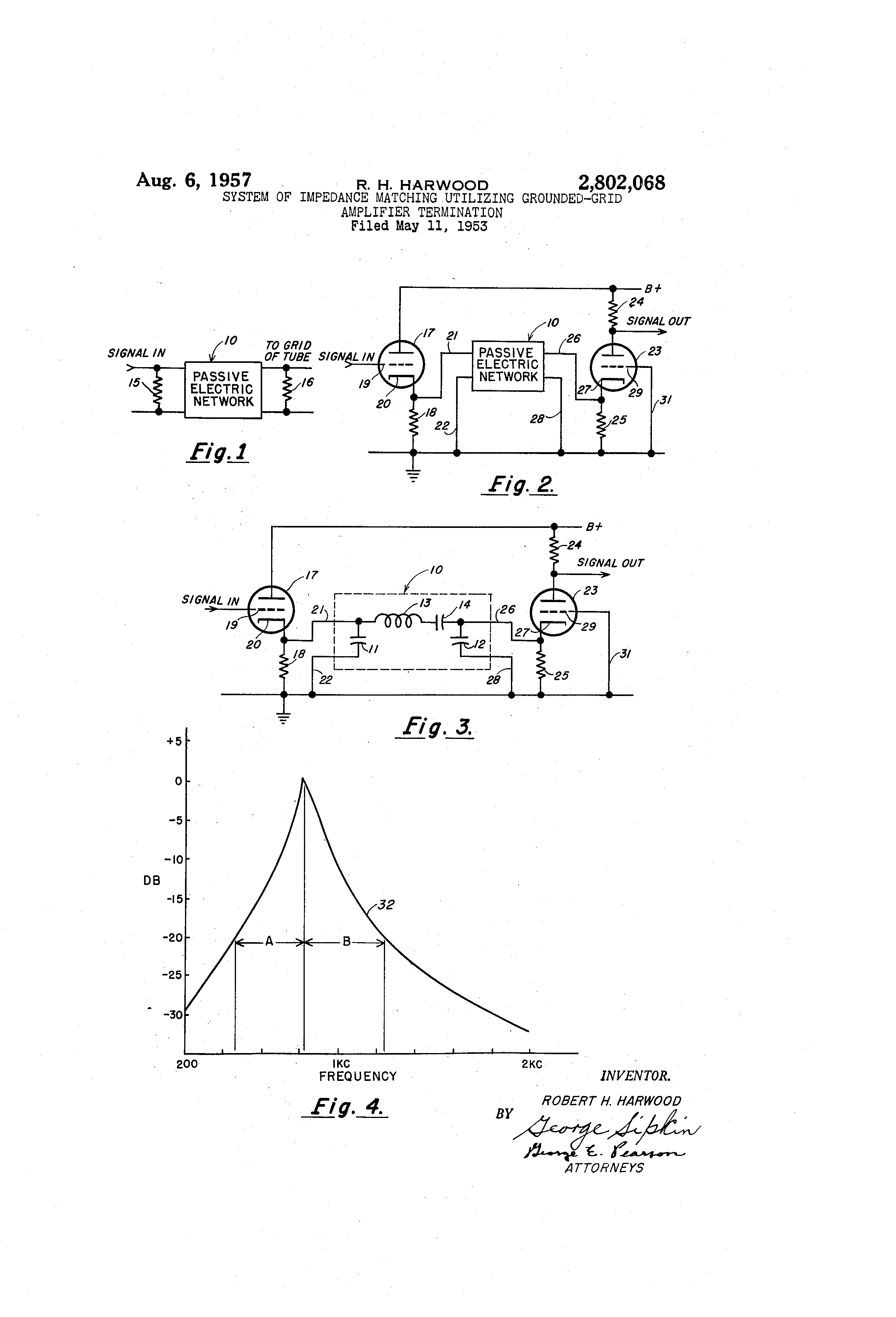 Patent US2802068 - System of impedance matching utilizing