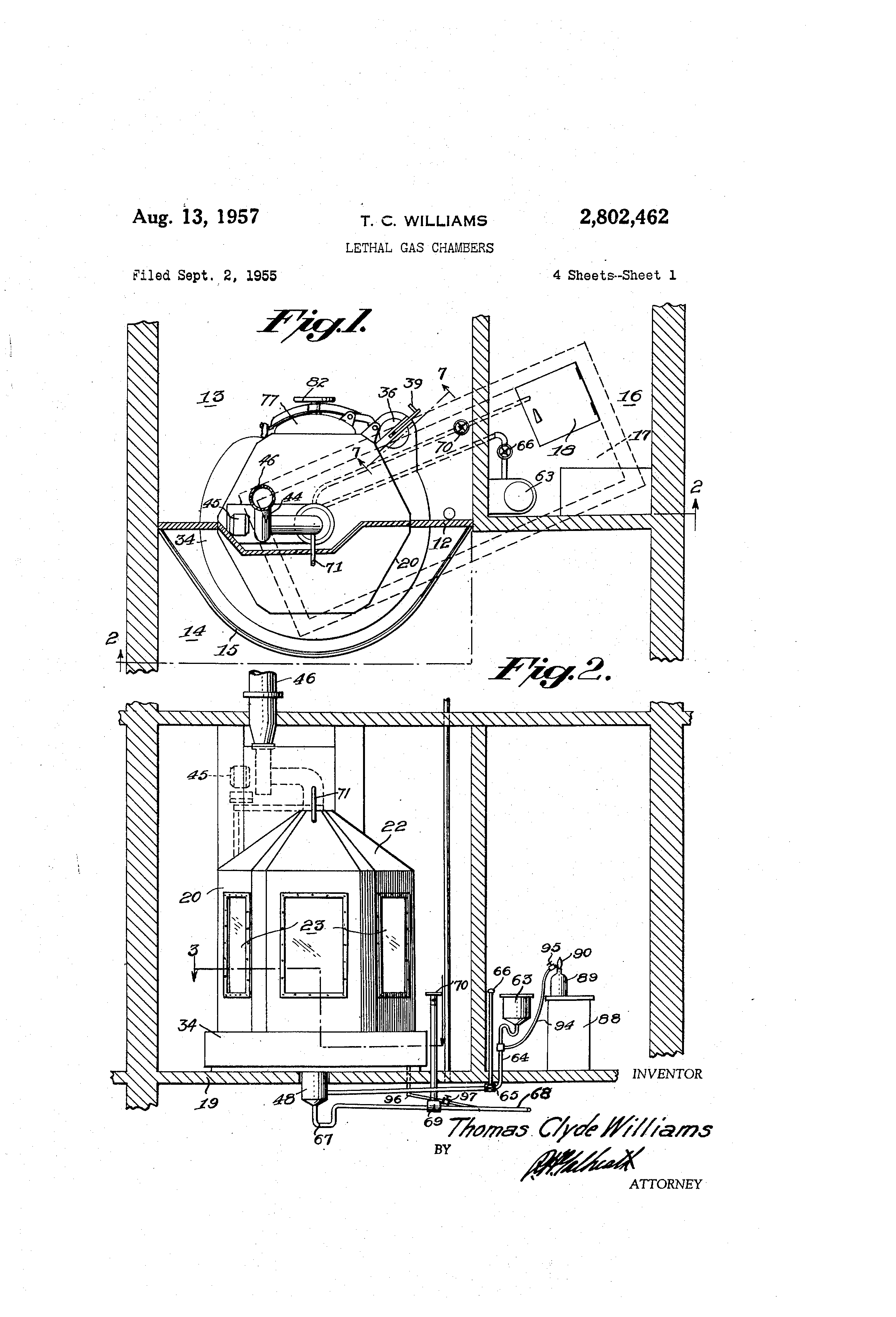 Patent Us2802462 Lethal Gas Chambers Google Patents