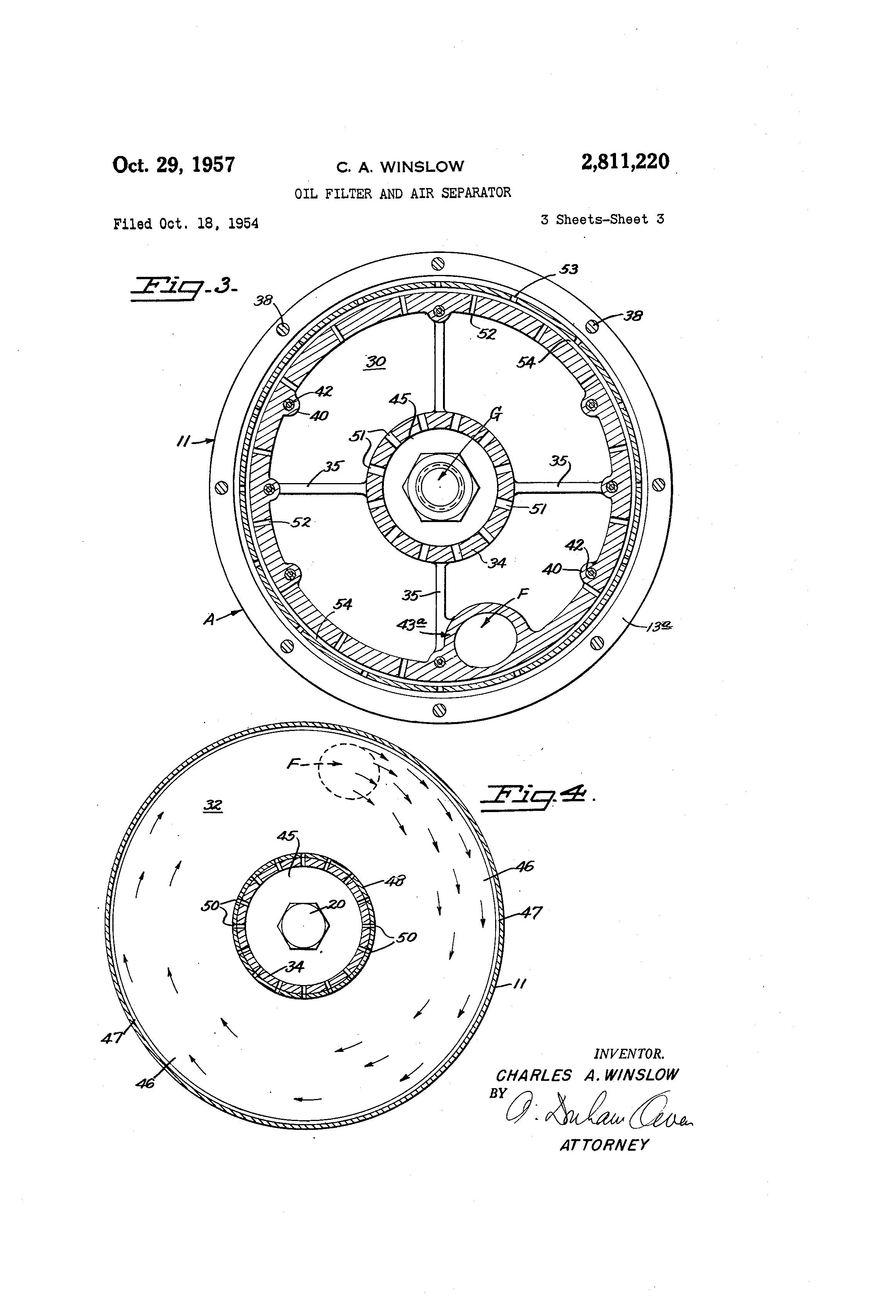 patent us2811220 oil filter and air separator patents Oil Filter Bypass Safety patent drawing